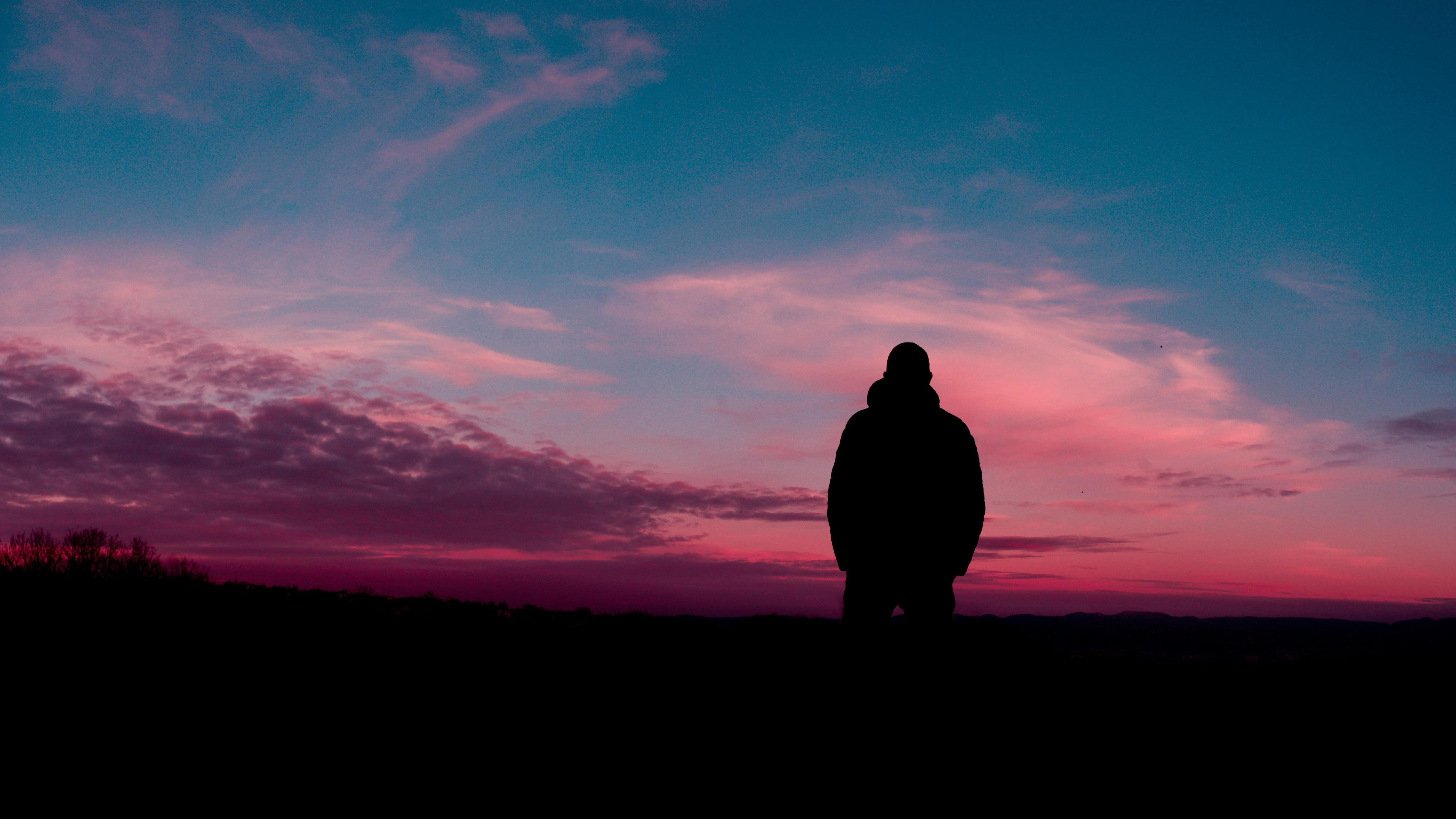 man silhouette sky solitude 4k 1540138458 - Man Silhouette Sky Solitude 4k - sky wallpapers, silhouette wallpapers, nature wallpapers, man wallpapers, hd-wallpapers, 5k wallpapers, 4k-wallpapers