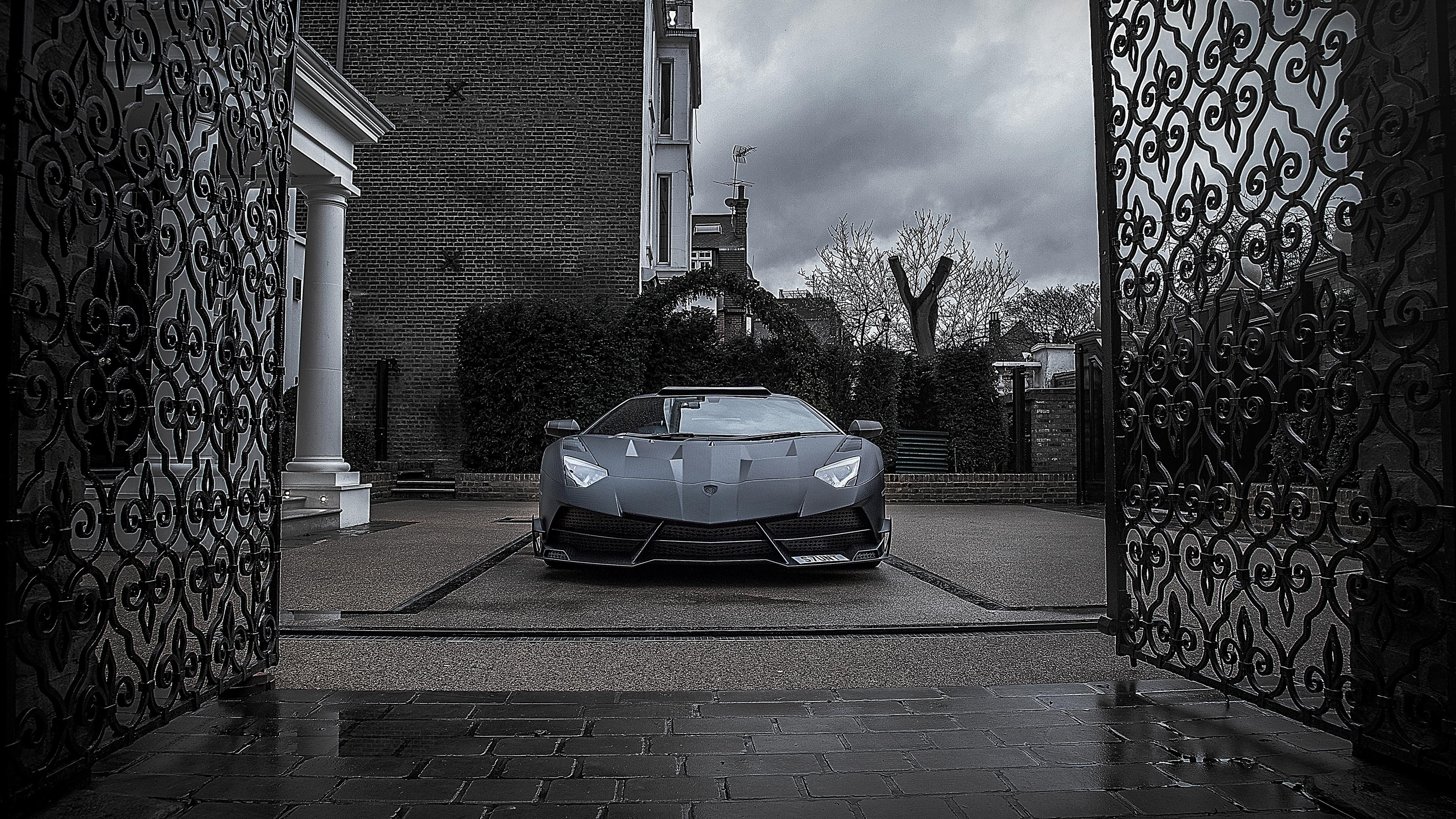 Wallpaper 4k Mansory Lamborghini Aventador Black Gate