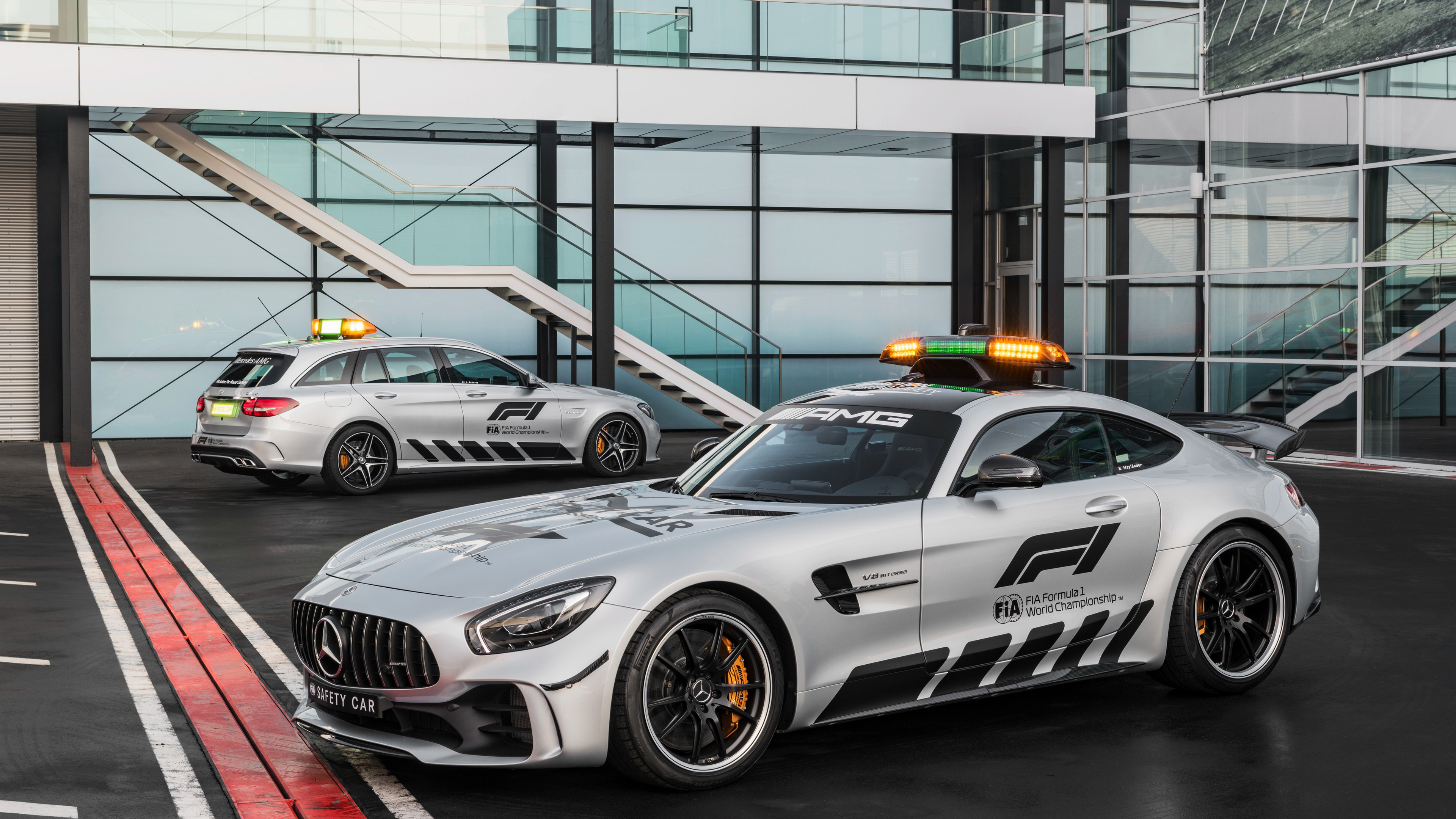 Wallpaper 4k Mercedes Amg Gt R And C Klasse Estate F1 Safety Car