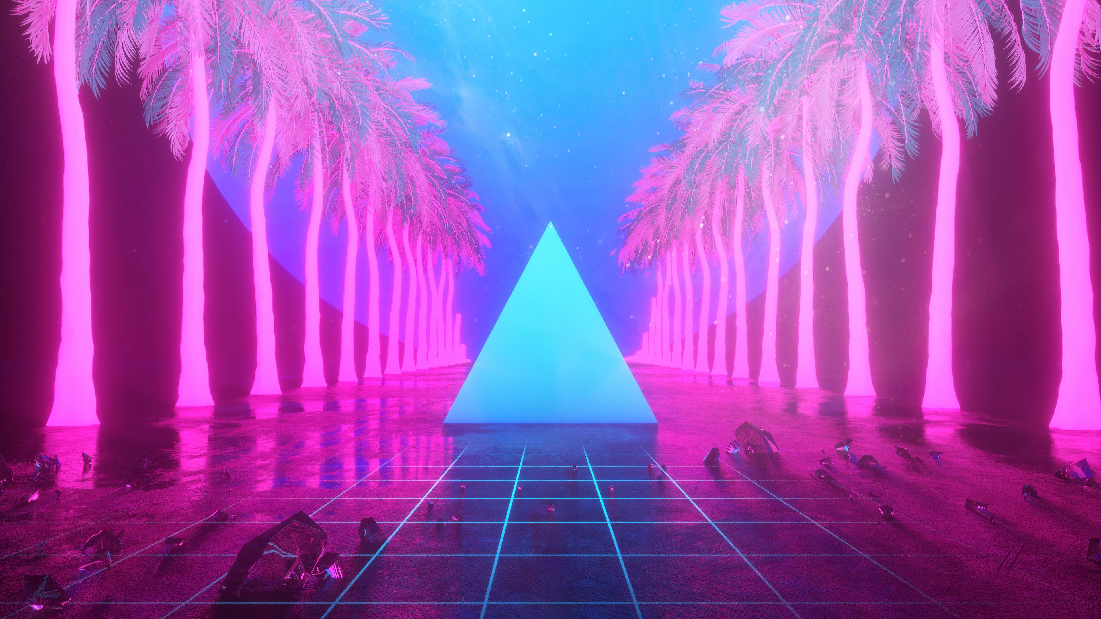 miami trees triangle neon artwork 4k 1540750649 - Miami Trees Triangle Neon Artwork 4k - triangle wallpapers, neon wallpapers, miami wallpapers, hd-wallpapers, digital art wallpapers, artwork wallpapers, artist wallpapers, 4k-wallpapers