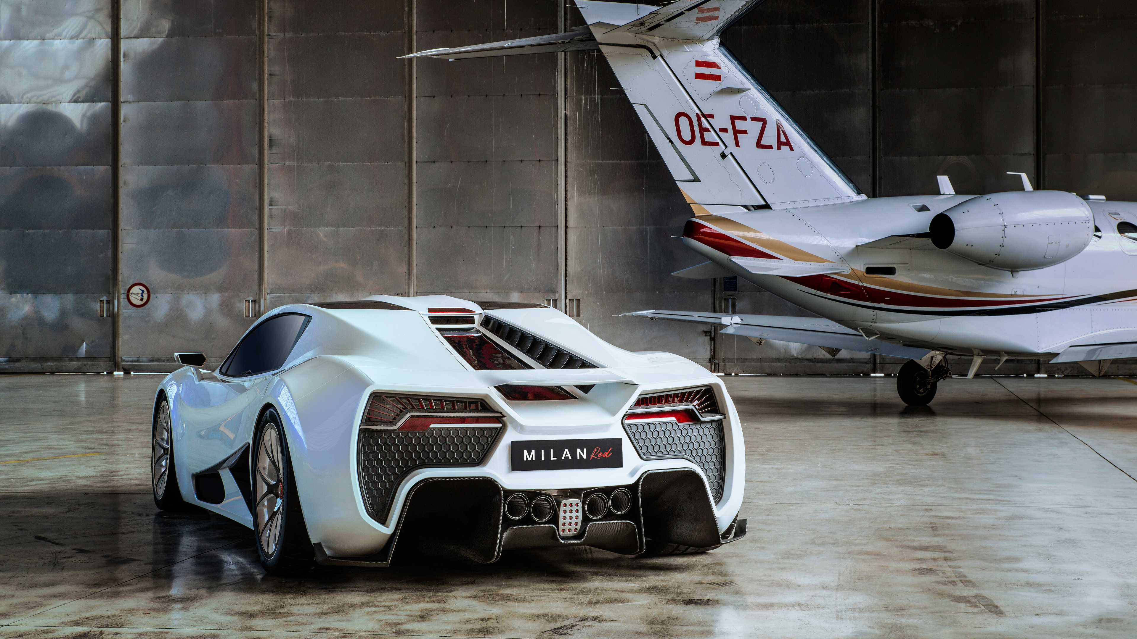 milan red 2018 rear airplane view 1539113565 - Milan Red 2018 Rear Airplane View - milan red wallpapers, hd-wallpapers, cars wallpapers, 4k-wallpapers, 2018 cars wallpapers