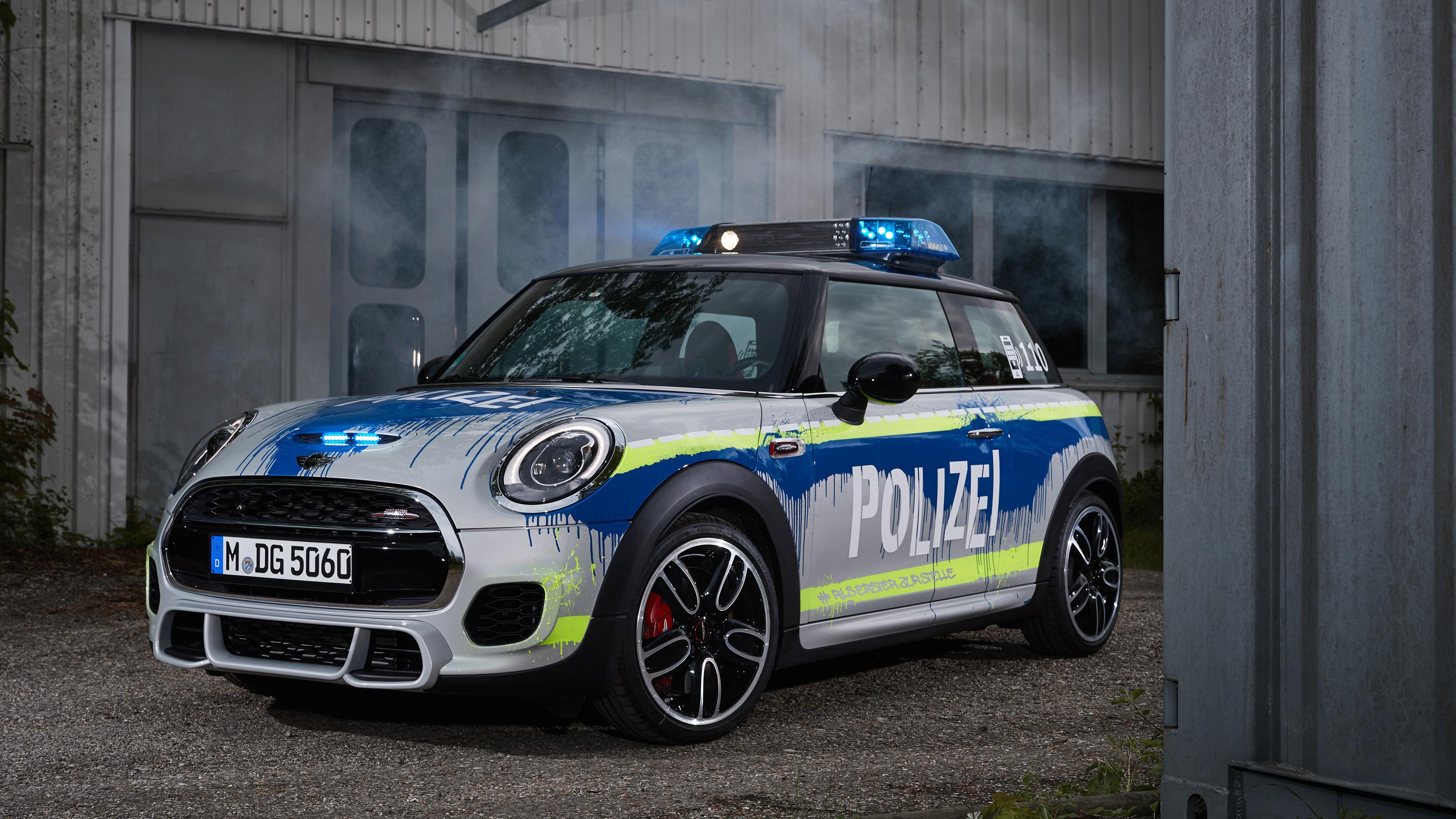 mini john cooper works polizei 2018 1539111316 - MINI John Cooper Works Polizei 2018 - mini cooper wallpapers, hd-wallpapers, cars wallpapers, 4k-wallpapers, 2018 cars wallpapers