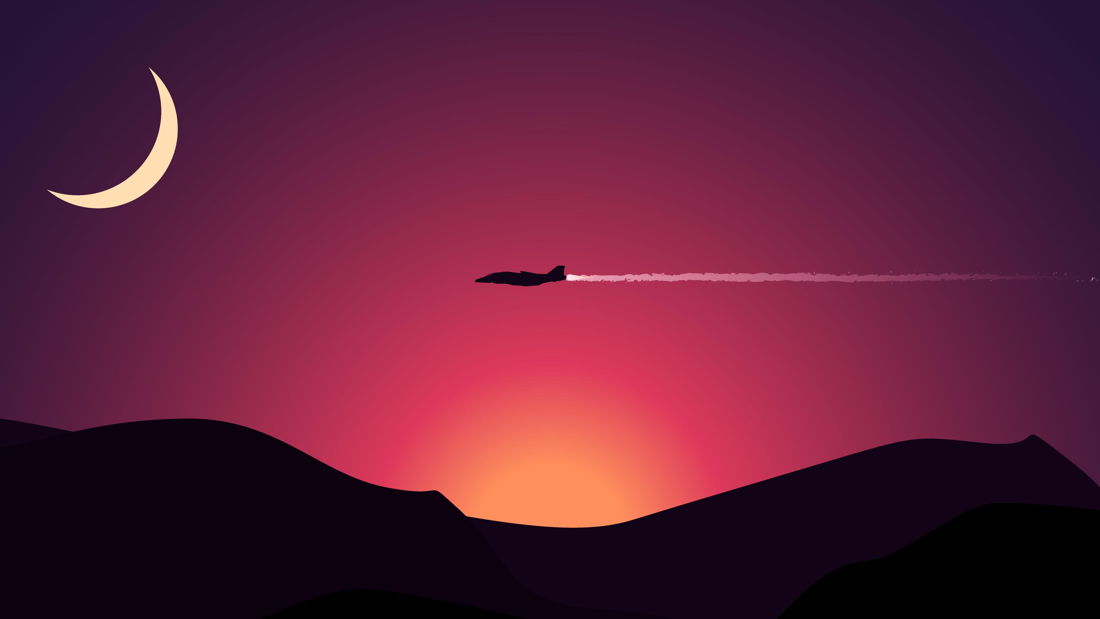 minimalism plane flying above mountains moon 4k 1540751478 - Minimalism Plane Flying Above Mountains Moon 4k - sunset wallpapers, plane wallpapers, mountains wallpapers, moon wallpapers, minimalism wallpapers, hd-wallpapers, flying wallpapers, 4k-wallpapers