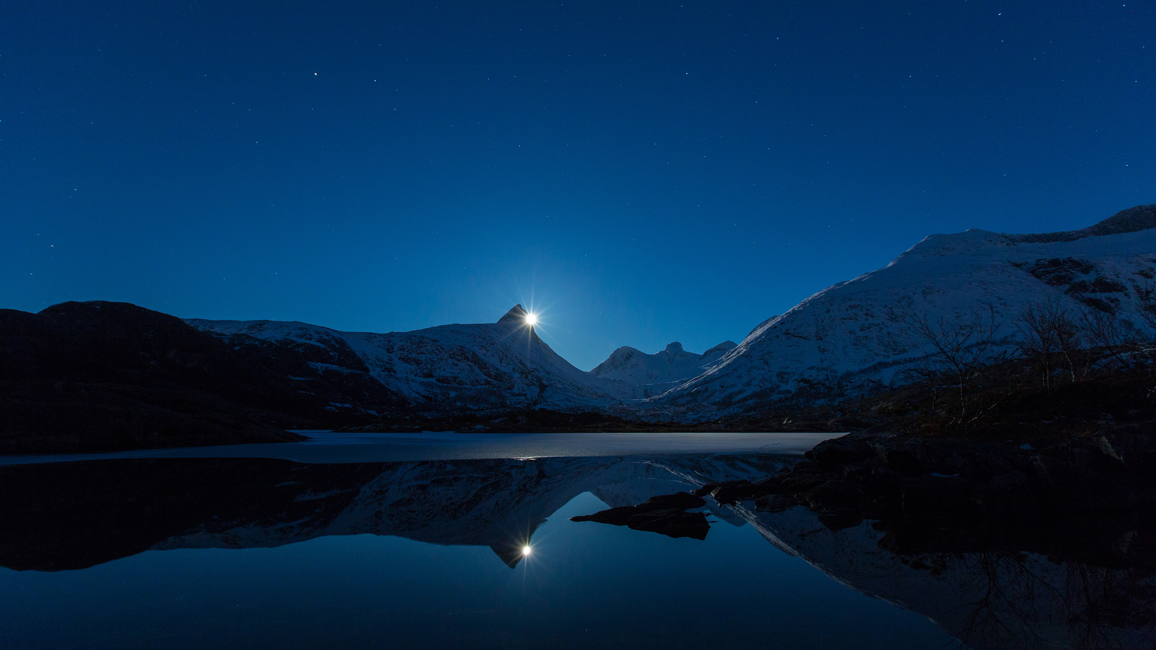 moon behind mountain 4k 1540132146 - Moon Behind Mountain 4k - reflection wallpapers, nature wallpapers, moon wallpapers, 4k-wallpapers