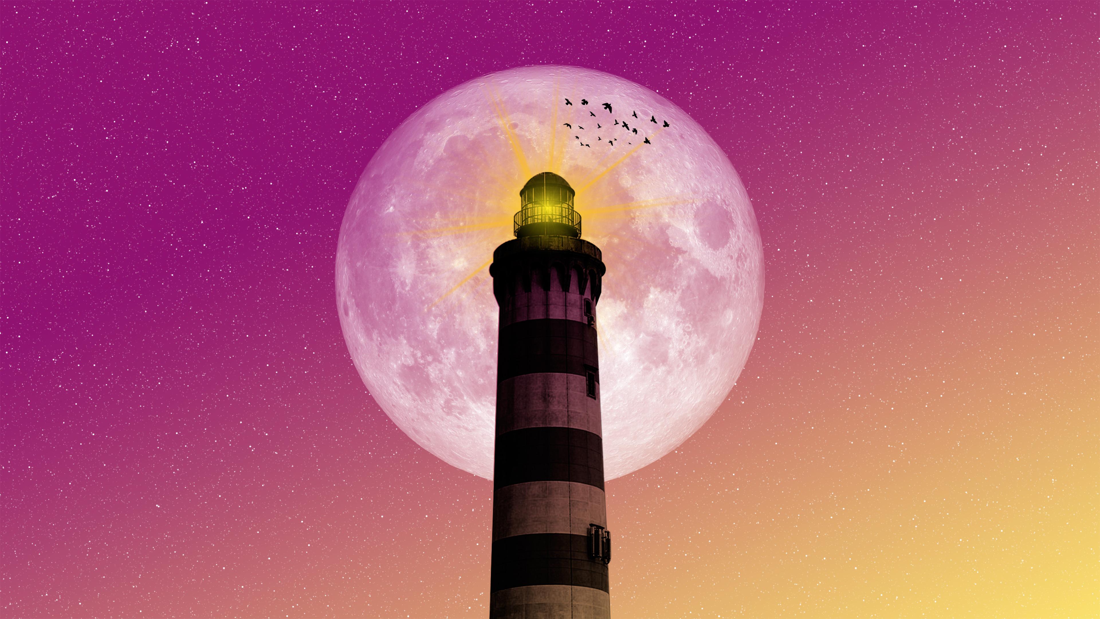 moon lighthouse birds pink yellow sky 1540755058 - Moon Lighthouse Birds Pink Yellow Sky - hd-wallpapers, digital art wallpapers, artwork wallpapers, artist wallpapers, 4k-wallpapers