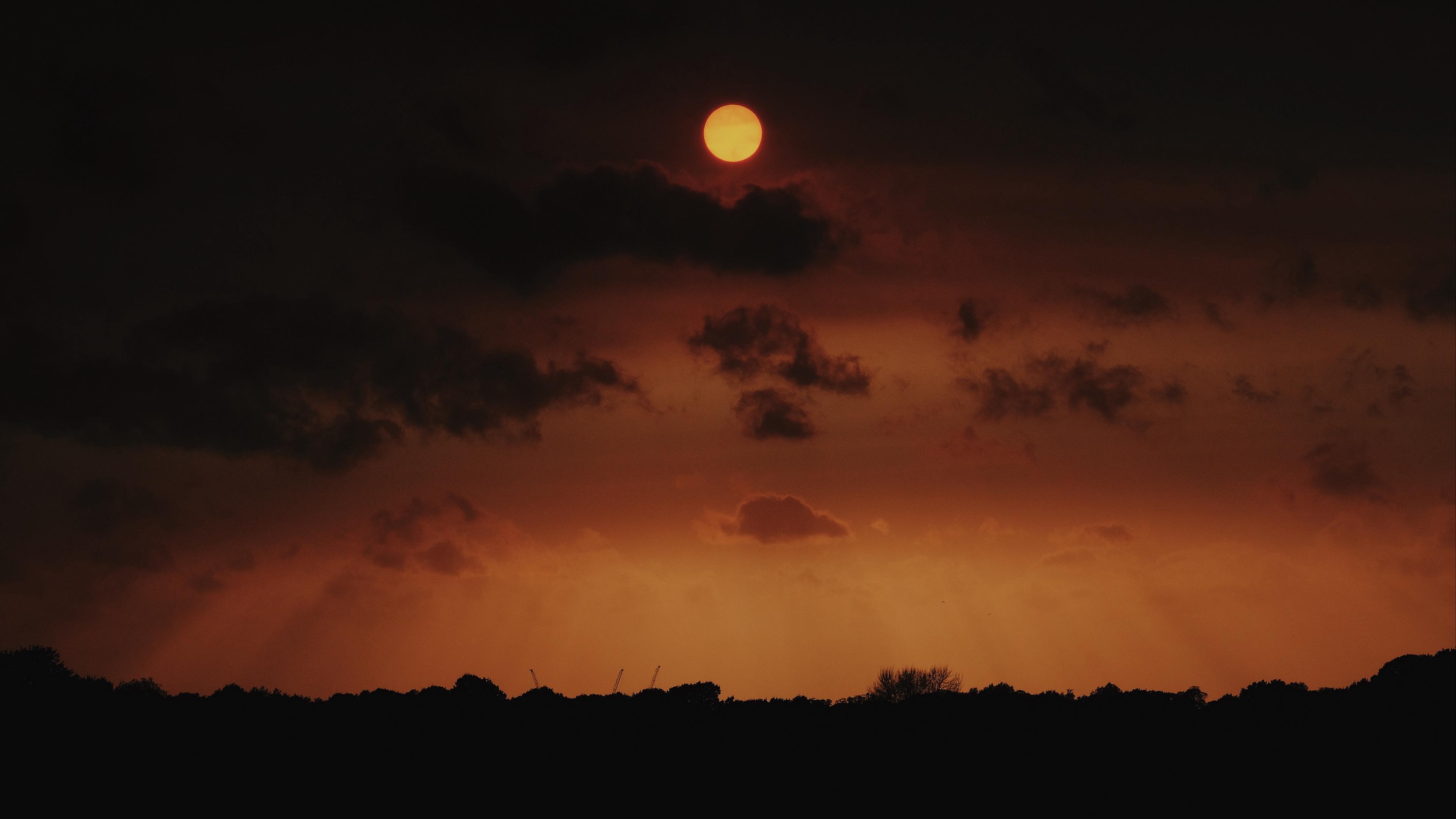 moon night sky clouds 4k 1540575295 - moon, night, sky, clouds 4k - Sky, Night, Moon