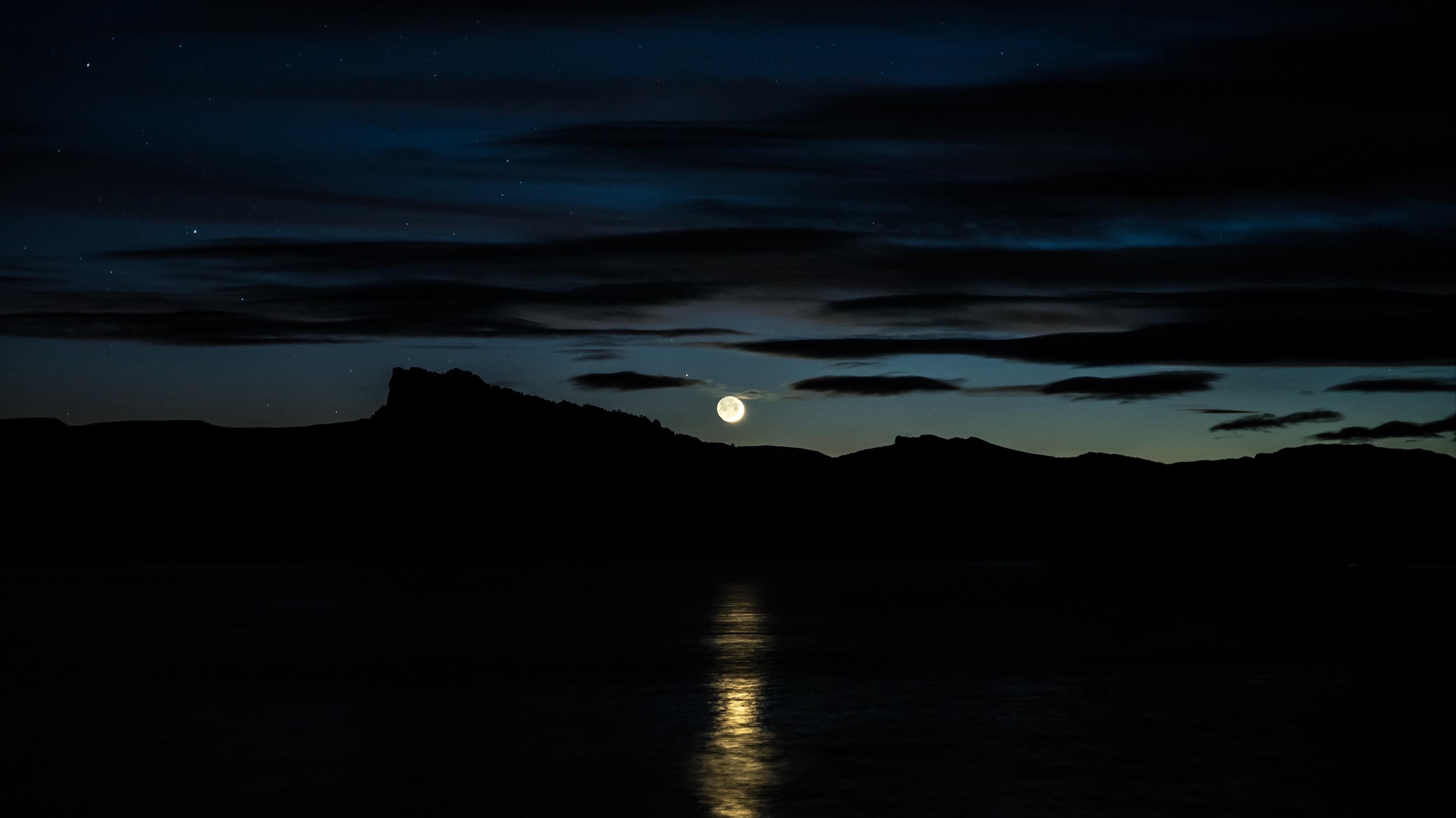 moon sky horizon river mountains 4k 1540576074 - moon, sky, horizon, river, mountains 4k - Sky, Moon, Horizon