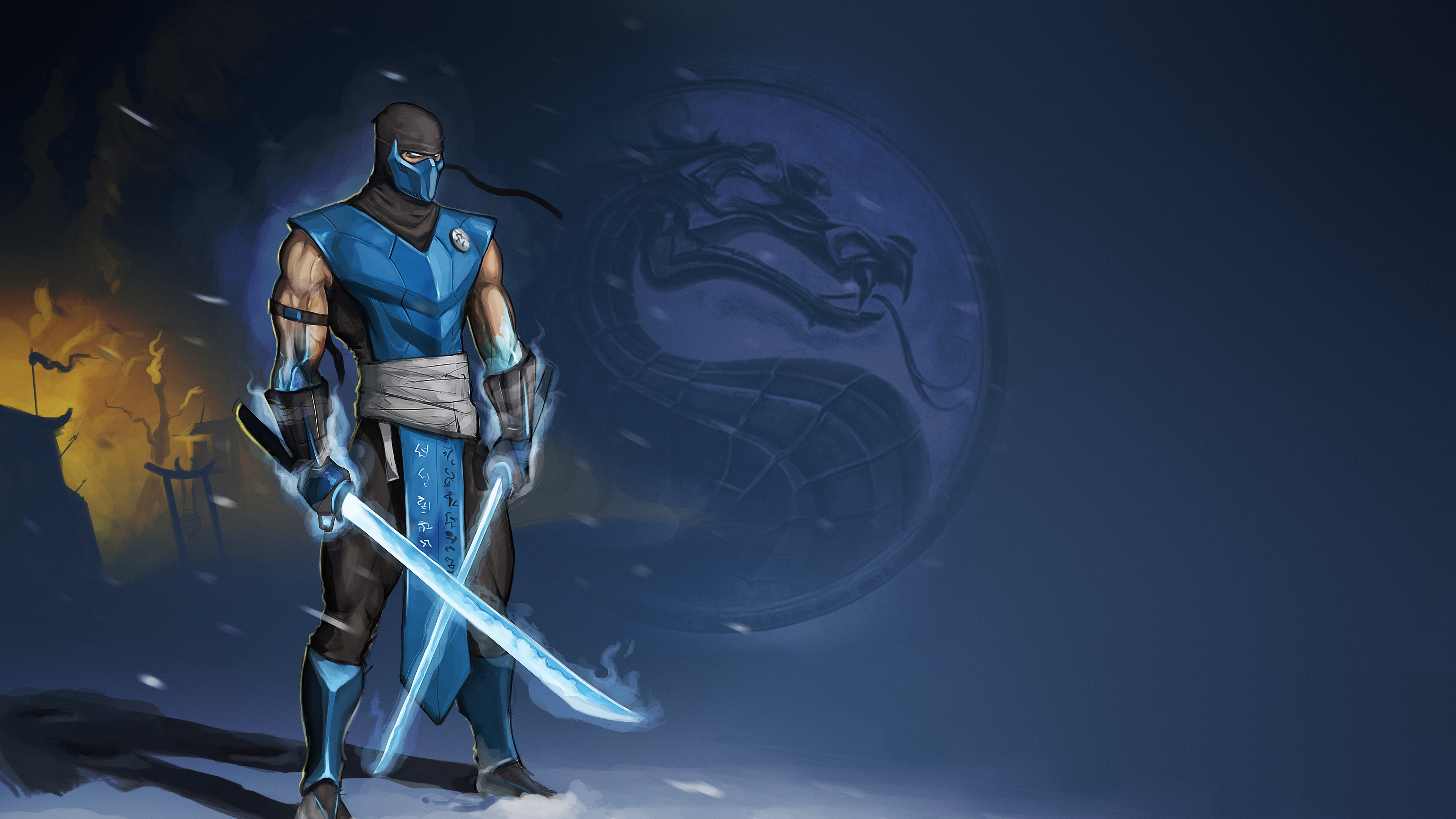 Wallpaper 4k Mortal Kombat Sub Zero Swords Art 4k Mortal Kombat
