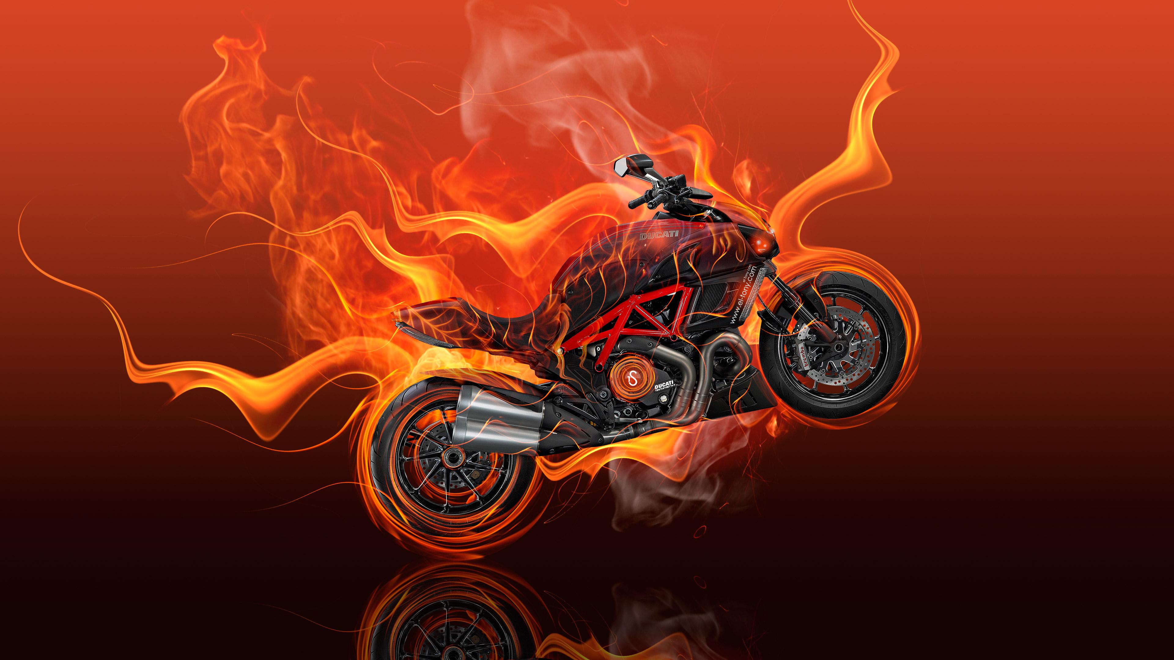 moto ducati diavel flame 4k 1540749004 - Moto Ducati Diavel Flame 4k - flame wallpapers, digital art wallpapers, artist wallpapers