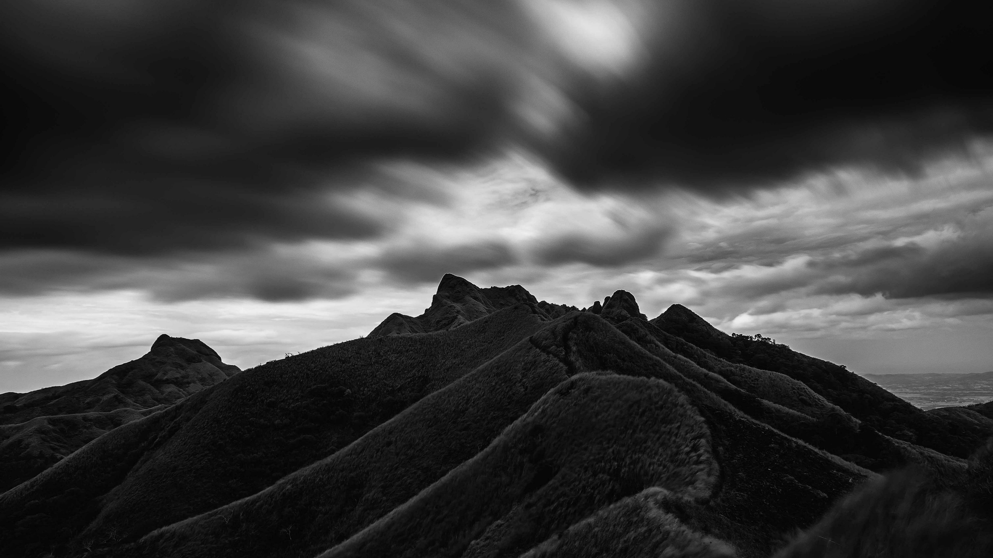 mountain hill bw black clouds batangas philippines 4k 1540575556 - mountain, hill, bw, black, clouds, batangas, philippines 4k - Mountain, hill, bw