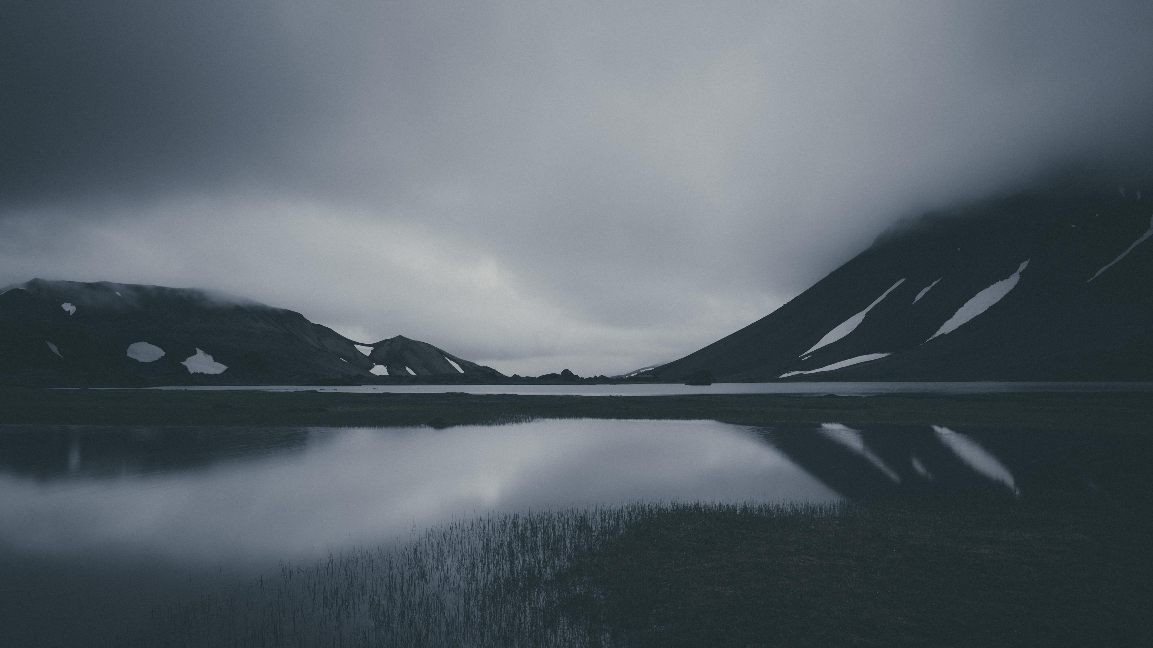 mountain lake dark bw 4k 1540574464 - mountain, lake, dark, bw 4k - Mountain, Lake, Dark