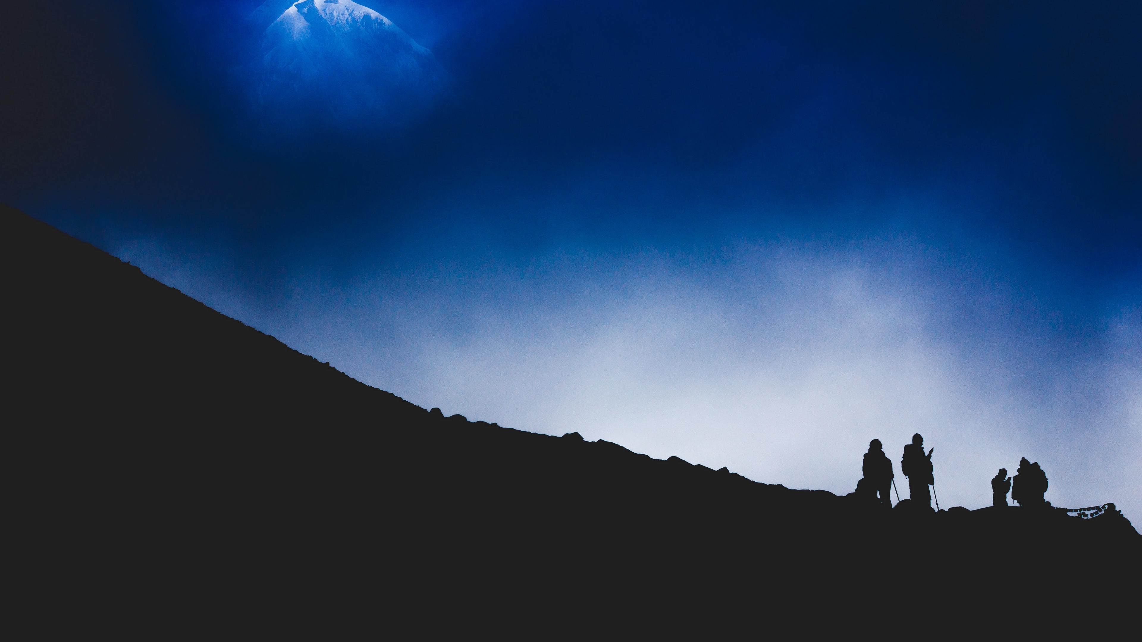 mountain silhouette night tourists mountaineers 4k 1540575047 - mountain, silhouette, night, tourists, mountaineers 4k - Silhouette, Night, Mountain