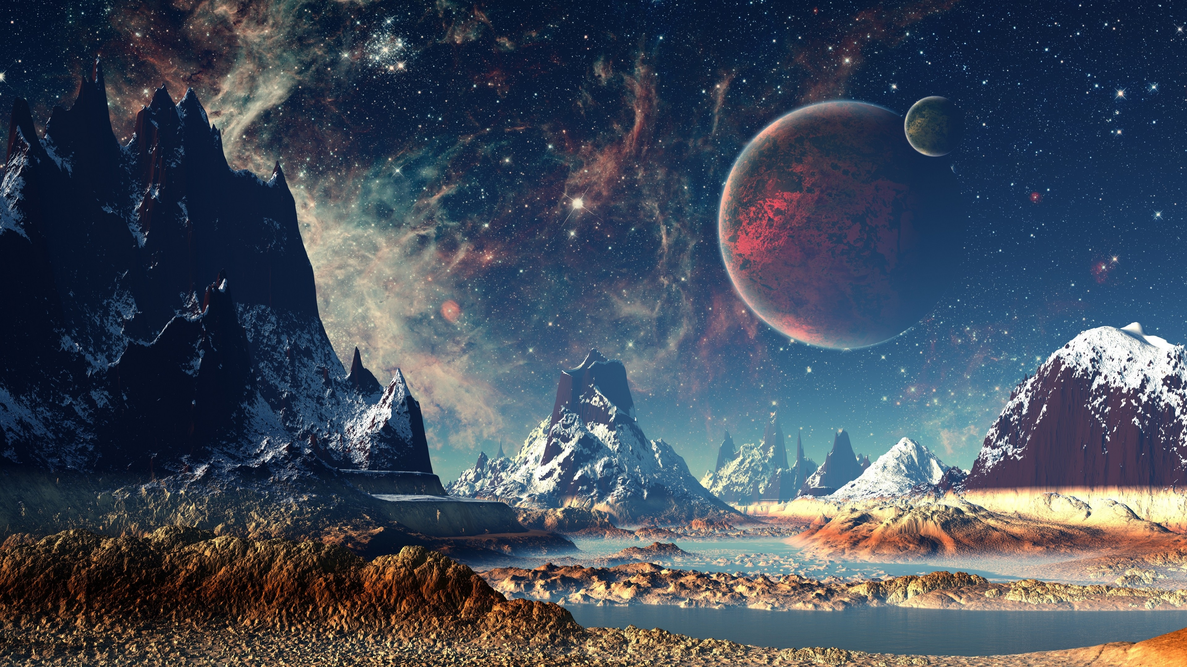 mountains stars space planets digital art artwork 4k 1540755443 - Mountains Stars Space Planets Digital Art Artwork 4k - stars wallpapers, space wallpapers, planets wallpapers, mountains wallpapers, hd-wallpapers, digital art wallpapers, artwork wallpapers, artist wallpapers, 4k-wallpapers