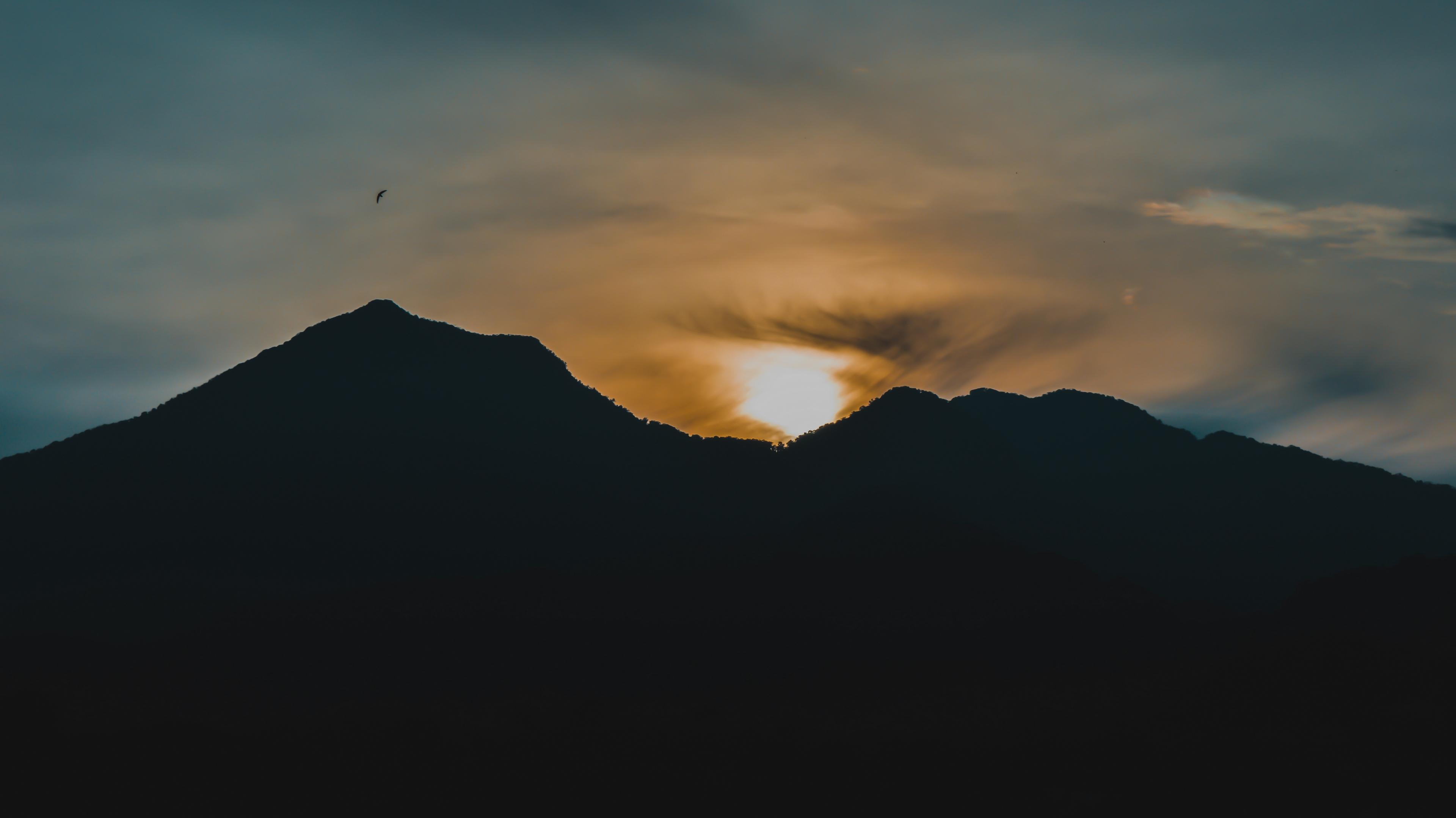 mountains sunset dark 4k 1540574949 - mountains, sunset, dark 4k - sunset, Mountains, Dark