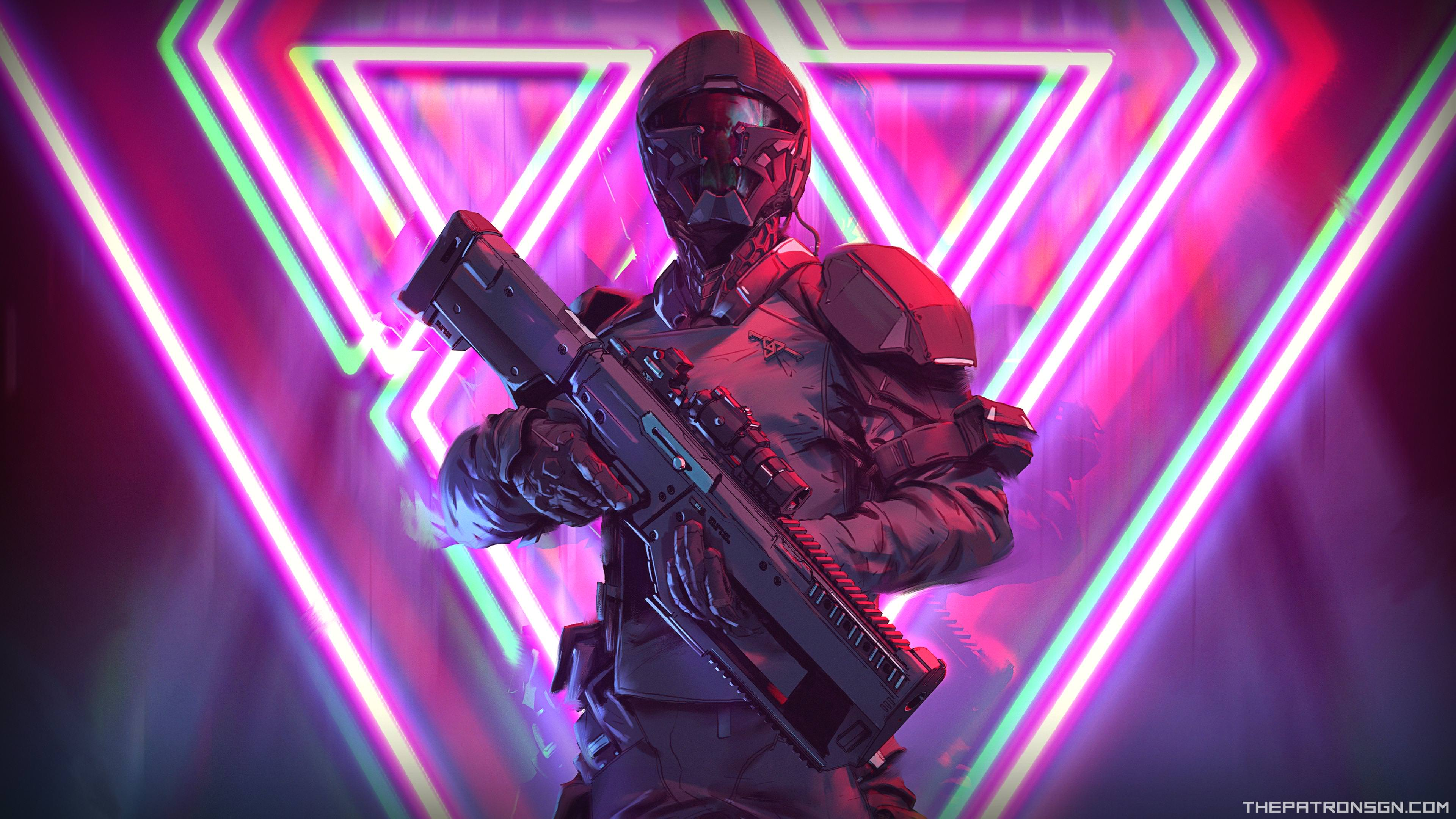 neon weapon soldier science fiction 4k 1540752879 - Neon Weapon Soldier Science Fiction 4k - soldier wallpapers, science fiction wallpapers, neon wallpapers, hd-wallpapers, digital art wallpapers, artwork wallpapers, artist wallpapers, 4k-wallpapers