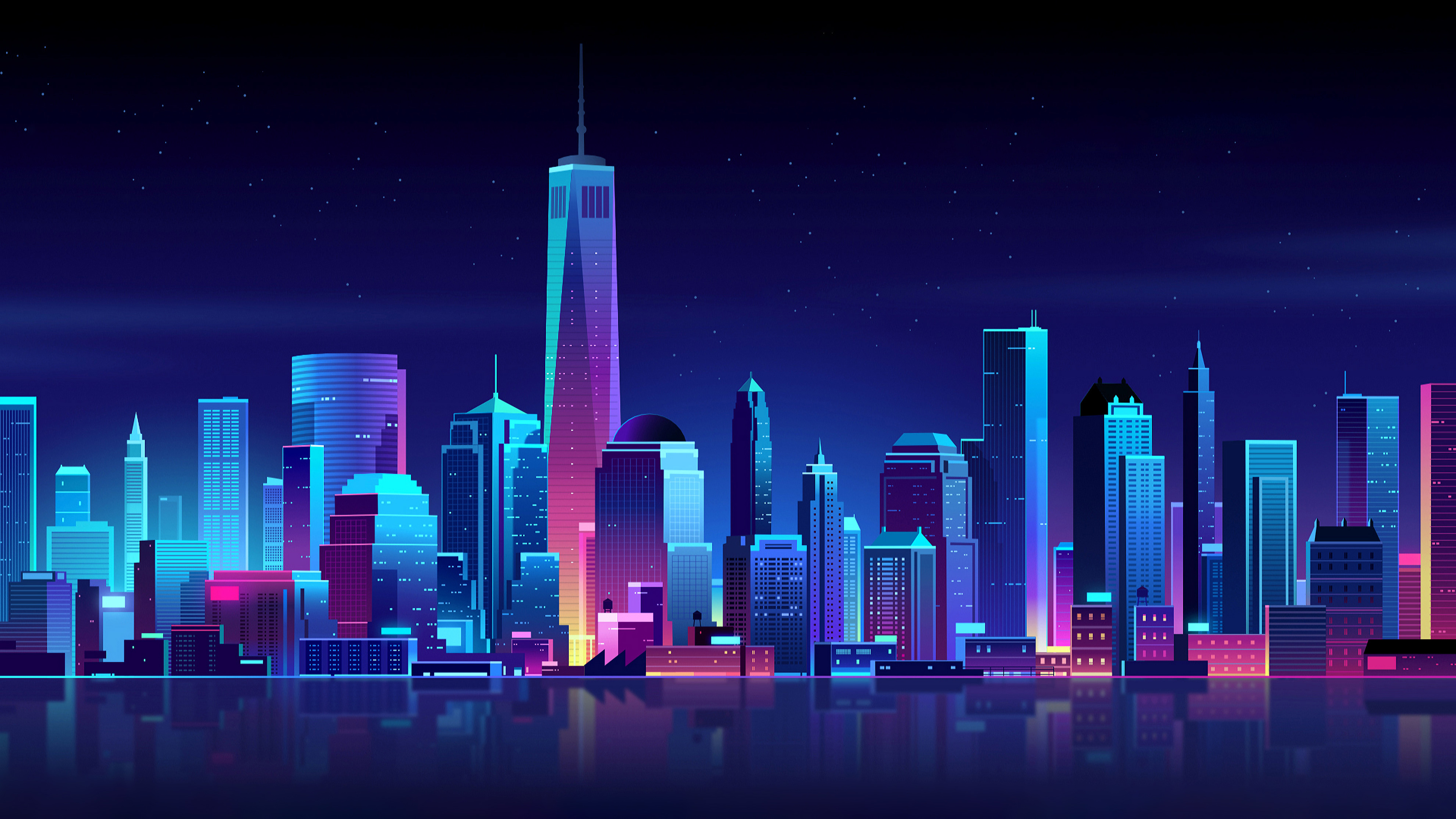 new york buildings city night minimalism 4k 1540750687