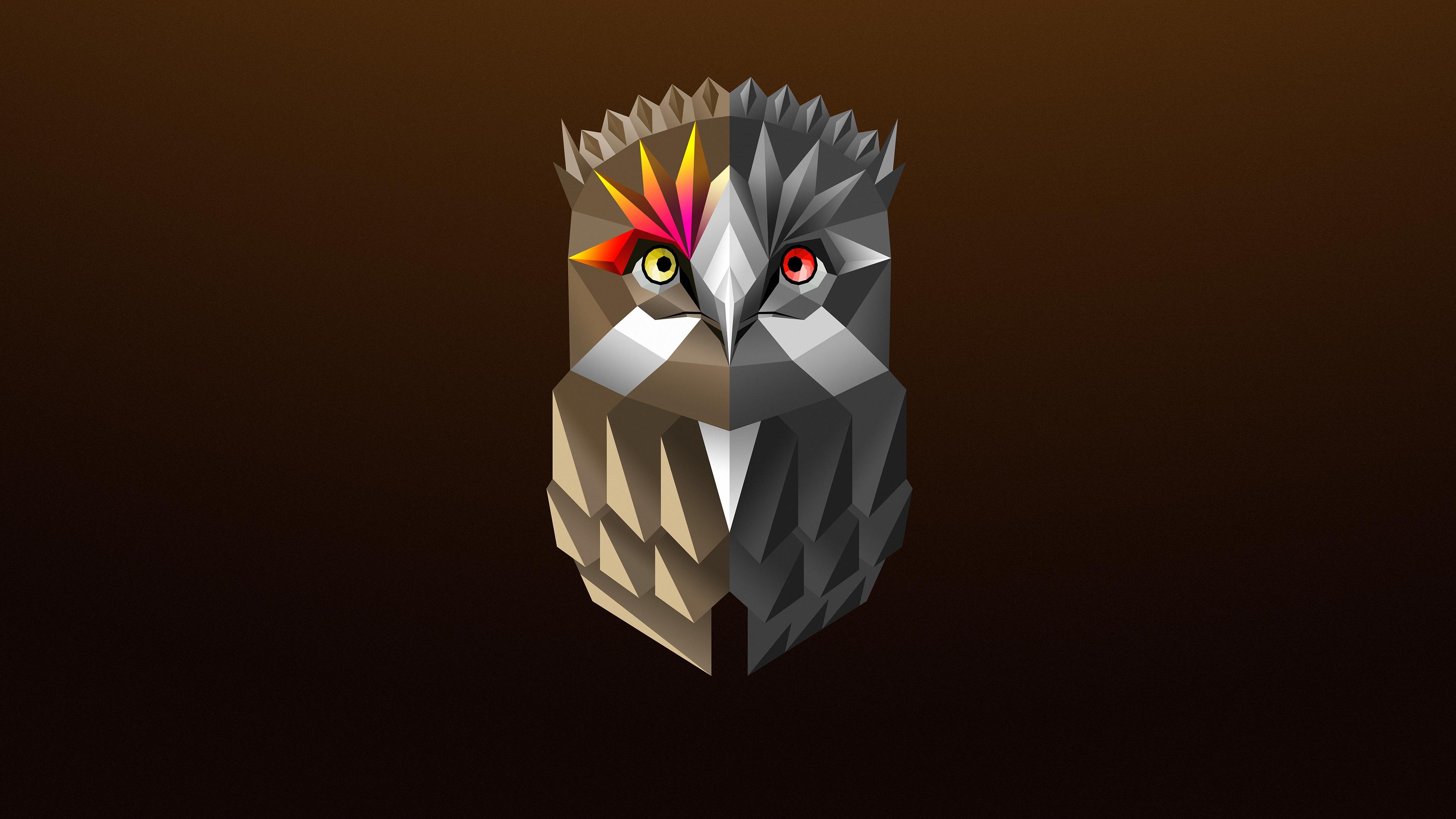 Owl Facets Colorful Digital Art 4k