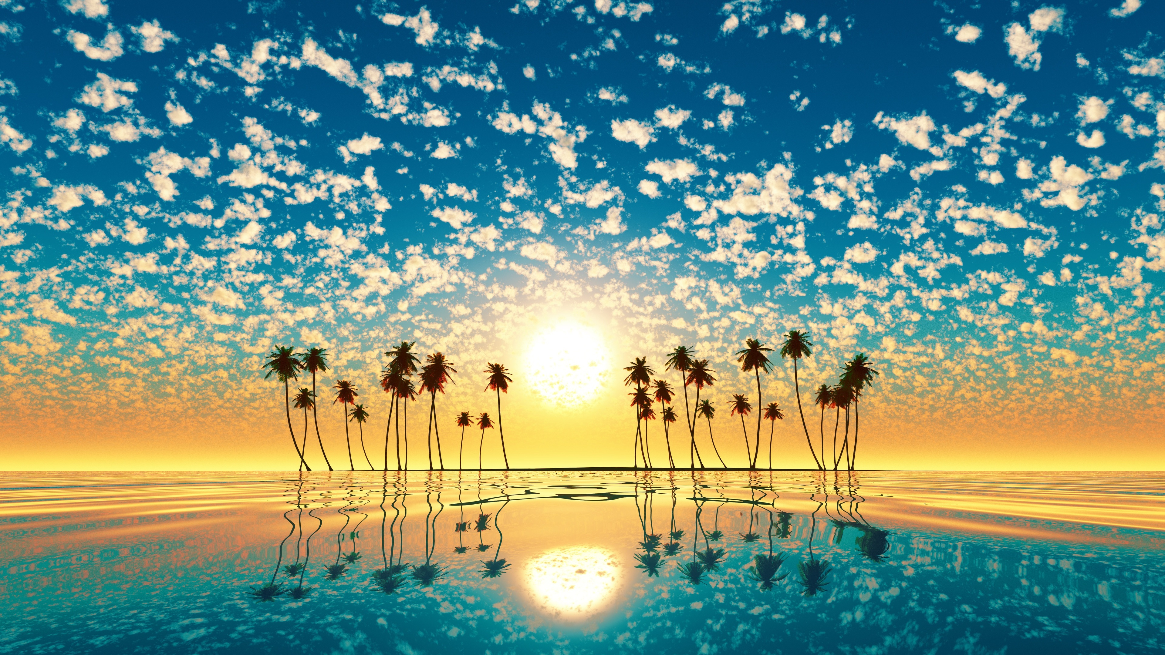palm trees reflection sunset 4k 1540133021 - Palm Trees Reflection Sunset 4k - trees wallpapers, sunset wallpapers, palm wallpapers, nature wallpapers, hd-wallpapers, 4k-wallpapers