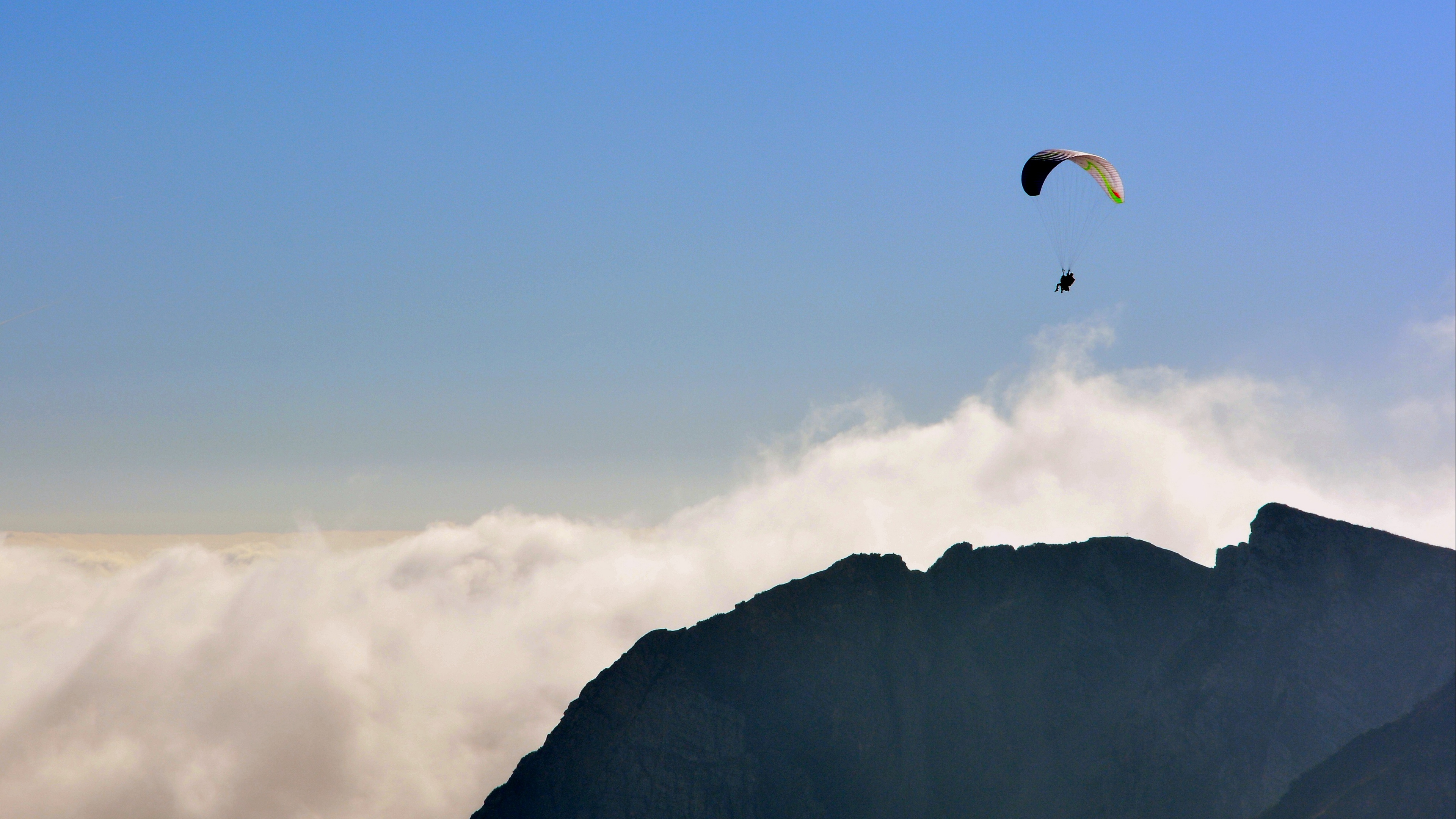 paraglider flying sky mountains extreme 4k 1540063076 - paraglider, flying, sky, mountains, extreme 4k - Sky, paraglider, Flying