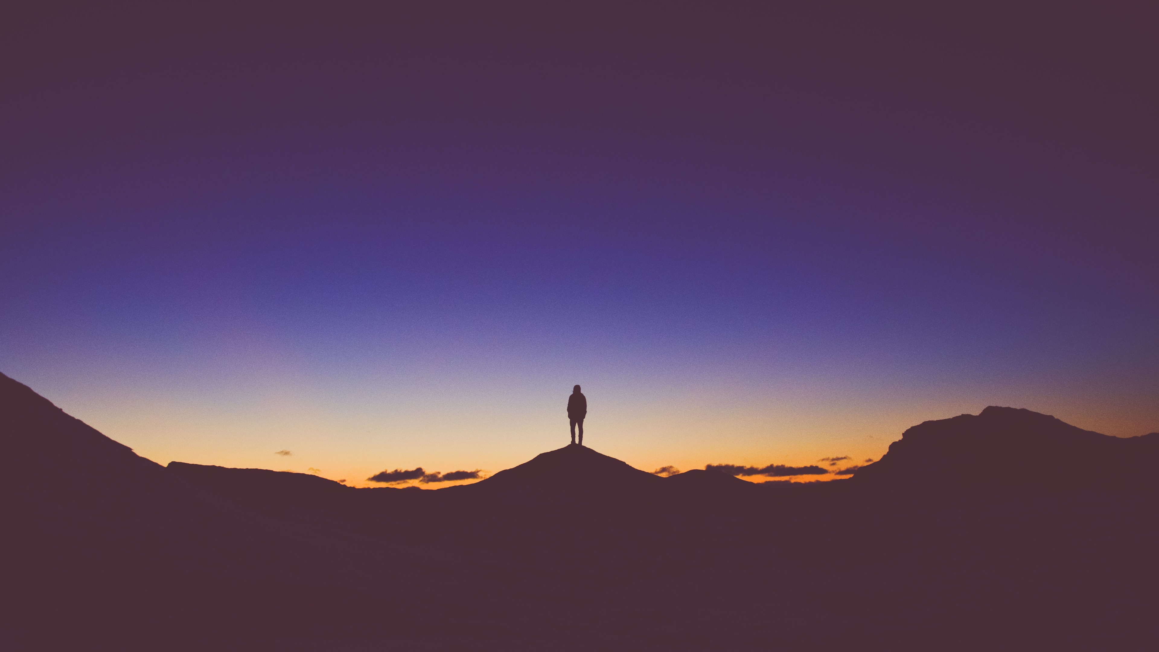 Wallpaper 4k Person Standing Mountain Watching View Silhouette