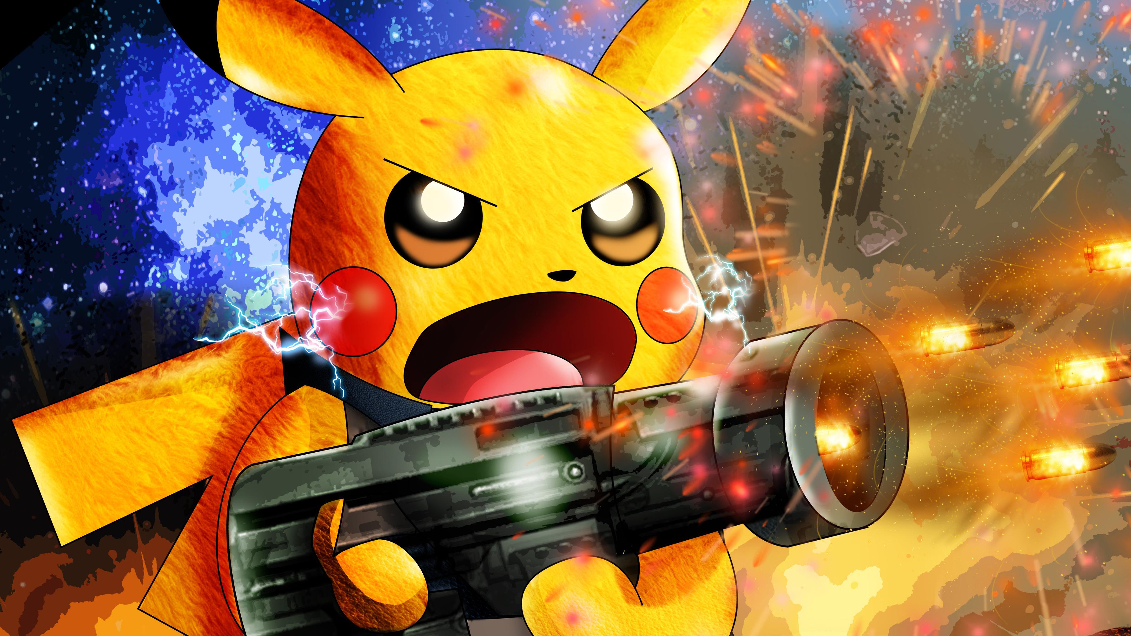 Pikachu As Rocket Raccoon 4k pokemon wallpapers, pikachu wallpapers, hd-wallpapers, digital art ...