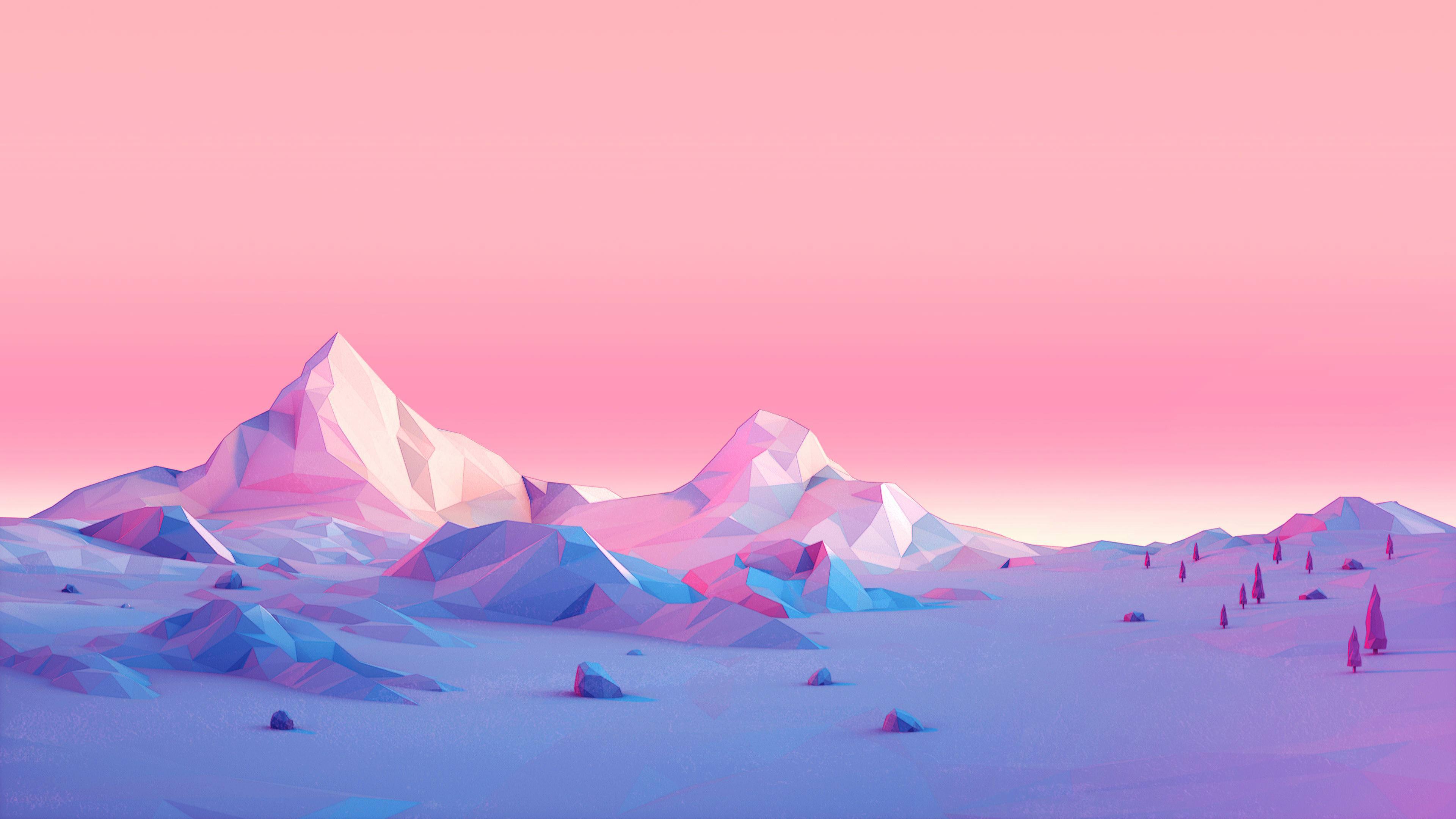 Polygon Mountains Minimalist 4k polygon wallpapers ...