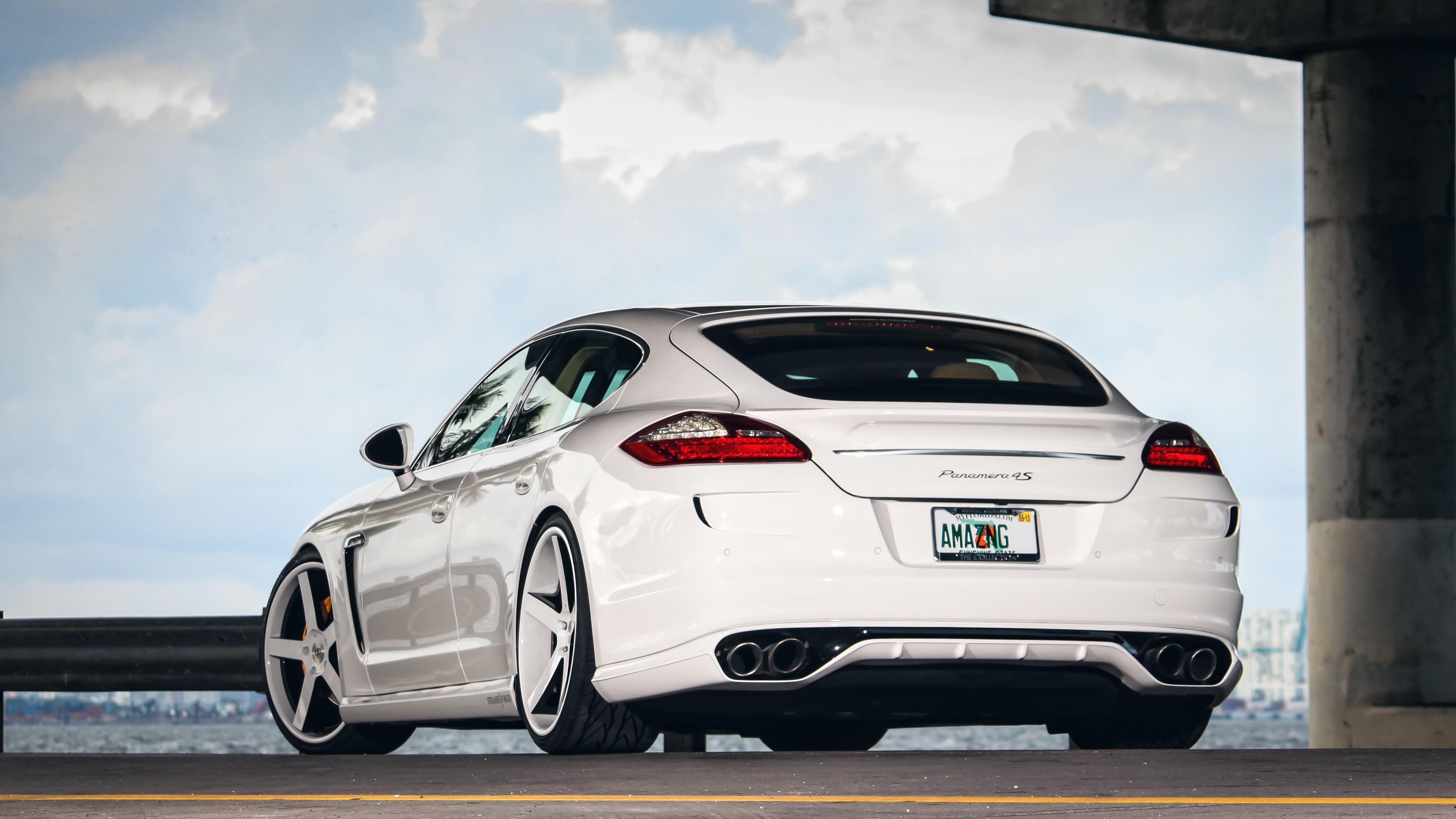 Wallpaper 4k Porsche Panamera Rear View White Auto 4k