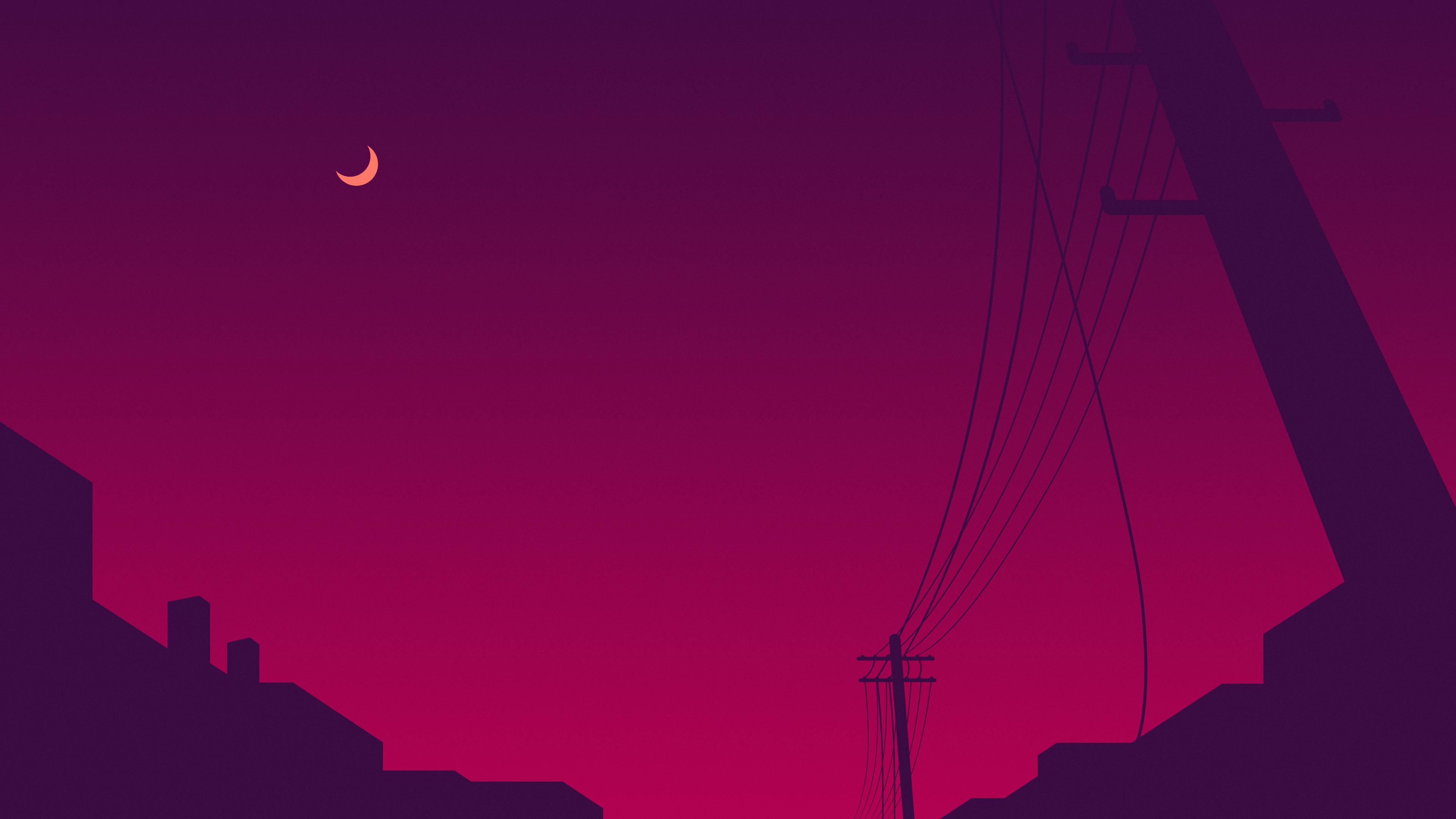 power lines moon sky minimalism 4k 1540754534 - Power Lines Moon Sky Minimalism 4k - sky wallpapers, pink wallpapers, moon wallpapers, minimalist wallpapers, minimalism wallpapers, hd-wallpapers, digital art wallpapers, artwork wallpapers, artist wallpapers, 4k-wallpapers