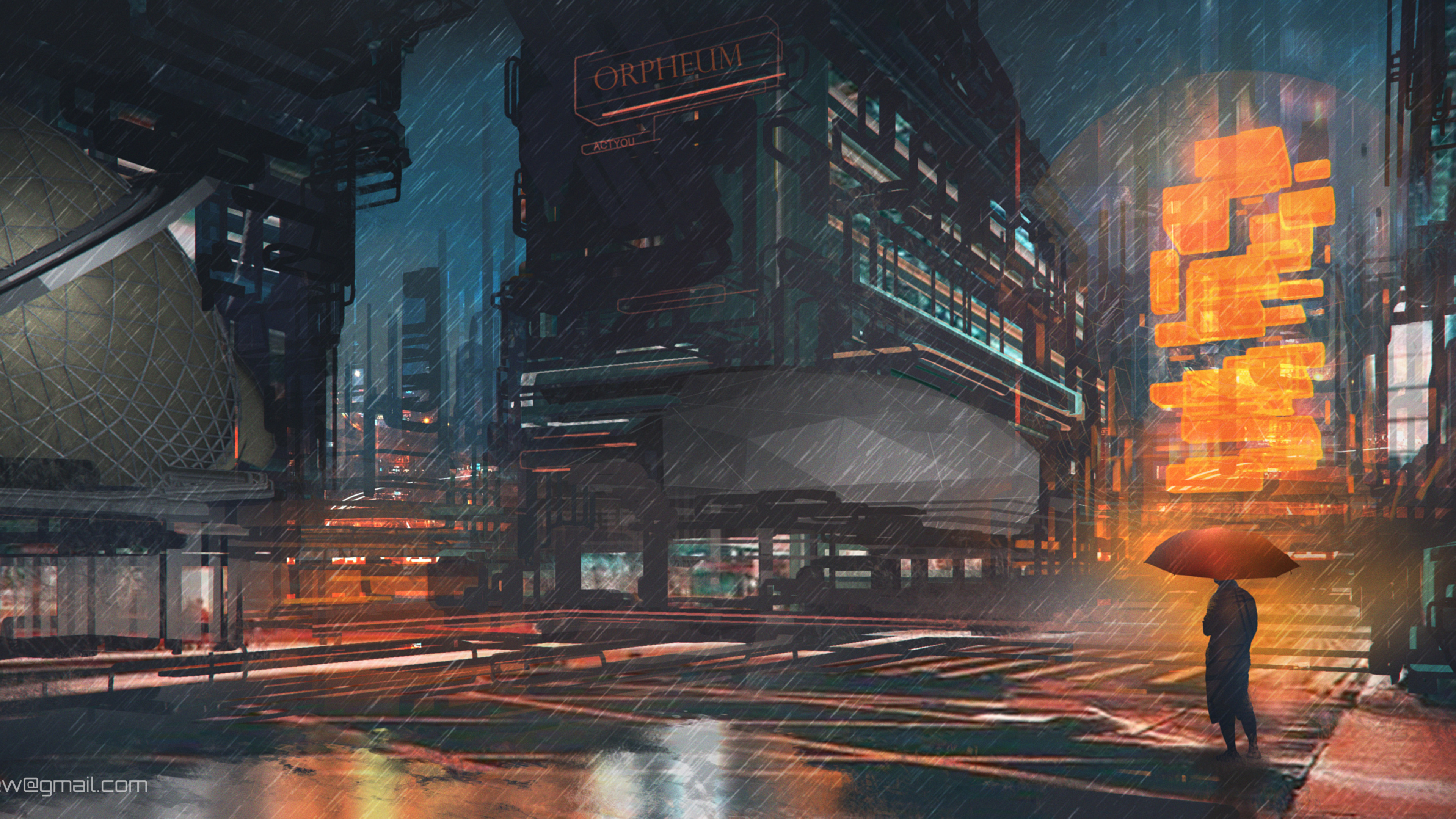 Wallpaper 4k Rainy Night Man With Umbrella Scifi Drawings Digital Art 4k 4k Wallpapers Artist Wallpapers Artwork Wallpapers Cyberpunk Wallpapers Deviantart Wallpapers Digital Art Wallpapers Hd Wallpapers Neon Wallpapers Rain Wallpapers Scifi