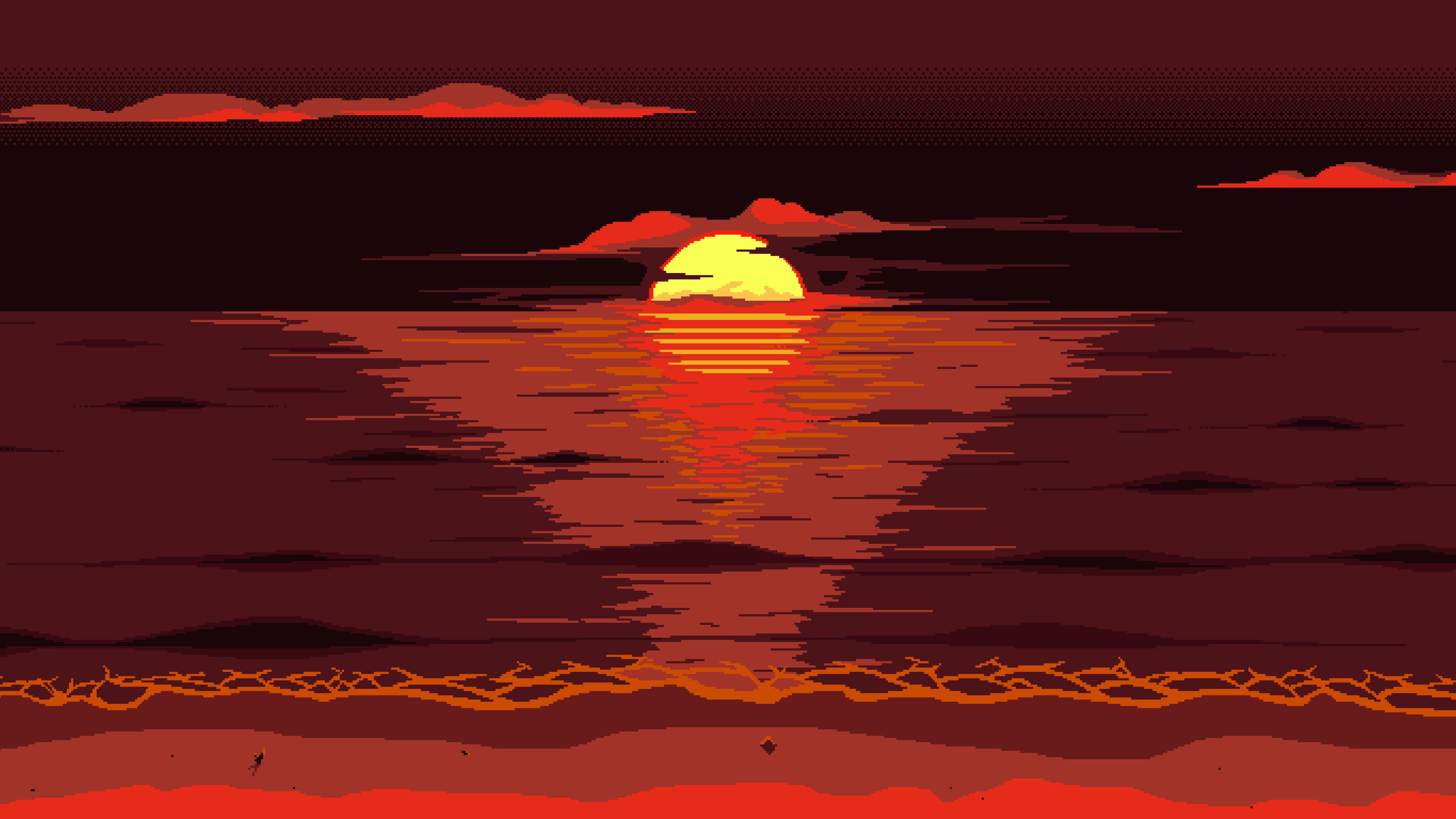 red dark pixel art sunset 4k 1540755598 - Red Dark Pixel Art Sunset 4k - sunset wallpapers, minimalist wallpapers, minimalism wallpapers, hd-wallpapers, hd wallpapers4k wallpapers, digital art wallpapers, artwork wallpapers, artist wallpapers, 8k wallpapers, 4k-wallpapers