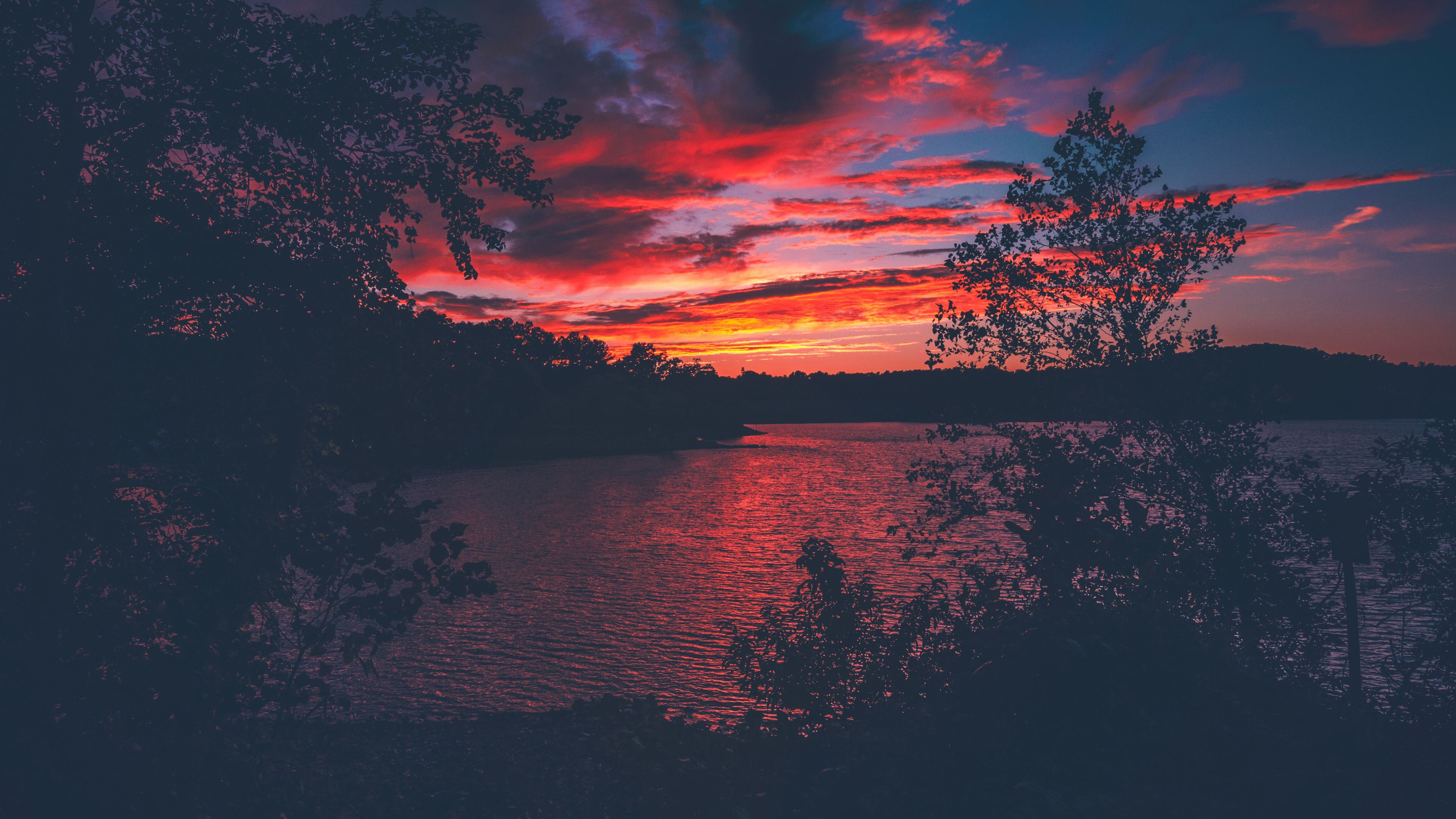 red evening sunset lake view from forest woods 4k 1540142897 - Red Evening Sunset Lake View From Forest Woods 4k - sunset wallpapers, nature wallpapers, lake wallpapers, hd-wallpapers, forest wallpapers, evening wallpapers, dawn wallpapers, 4k-wallpapers
