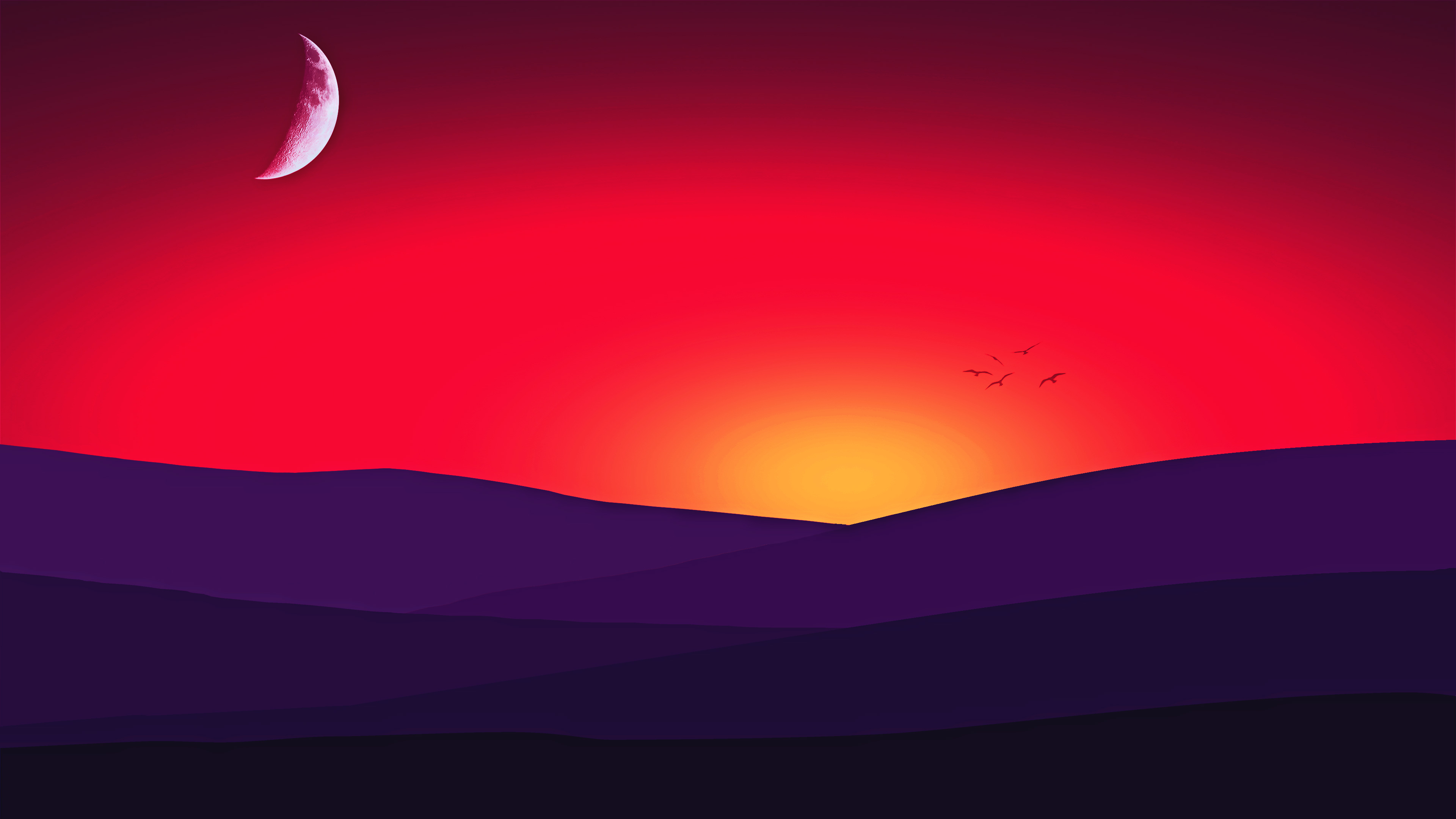 red mountains sunset birds 4k 1540750331 - Red Mountains Sunset Birds 4k - sunset wallpapers, mountains wallpapers, minimalism wallpapers, hd-wallpapers, digital art wallpapers, birds wallpapers, artwork wallpapers, artist wallpapers, 4k-wallpapers
