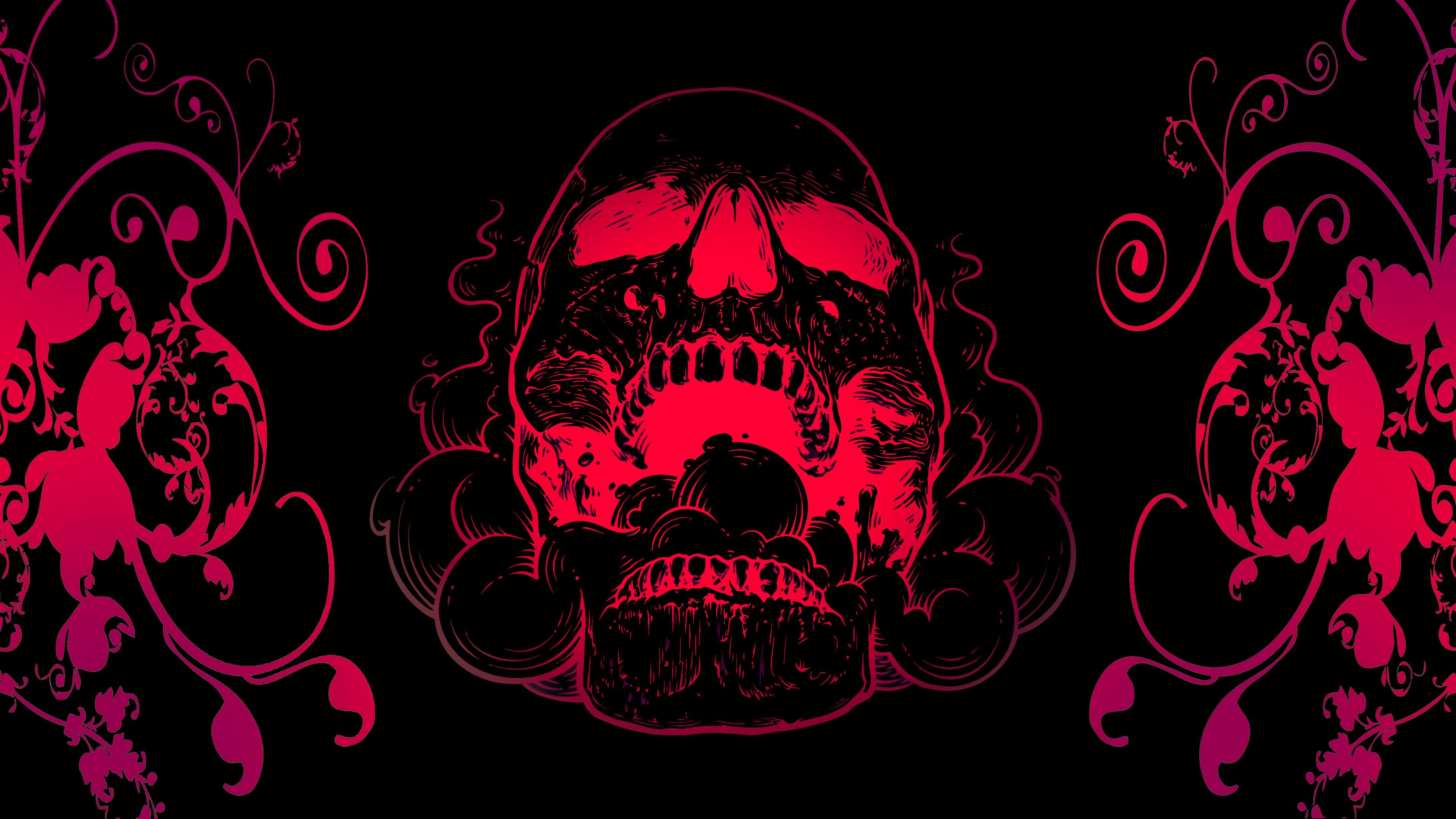 Wallpaper 4k Red Skull Flowers Black Background 4k 4k Wallpapers