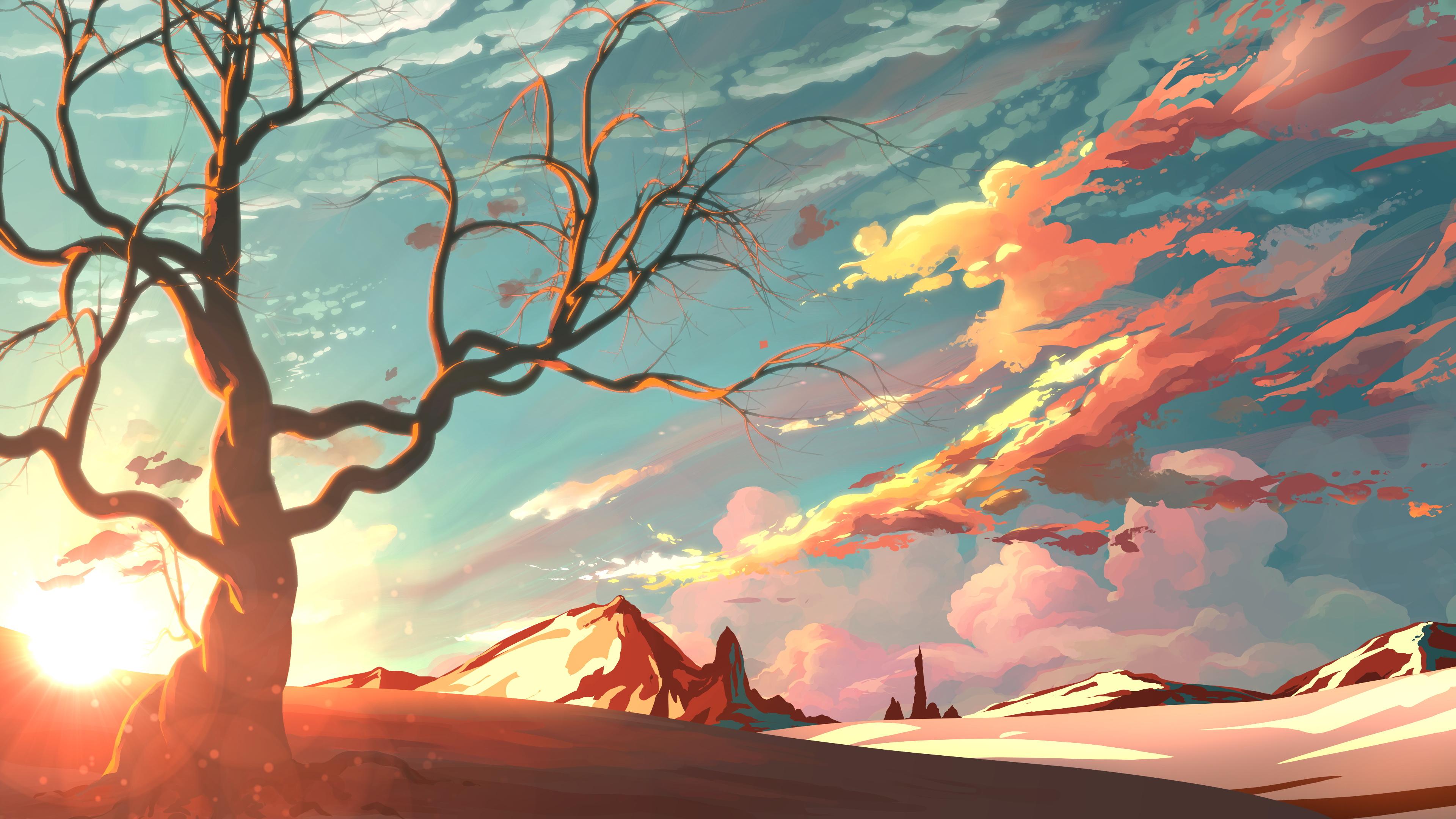 Wallpaper 4k Red Sky Mountains Trees Digital Art Painting 4k
