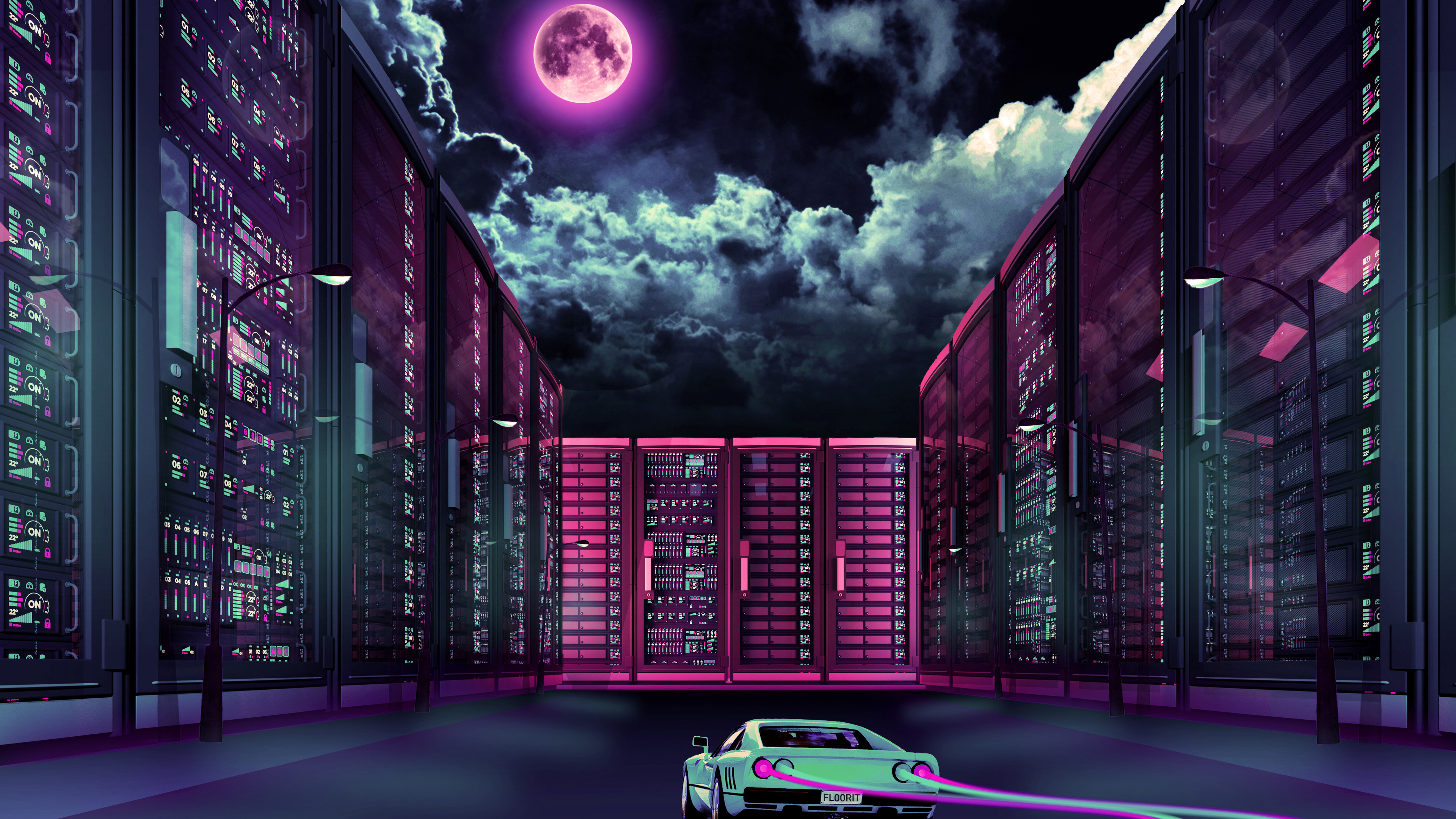 retrowave car going through city moon 1540752886 - Retrowave Car Going Through City Moon - retrowave wallpapers, hd-wallpapers, city wallpapers, car wallpapers, 4k-wallpapers