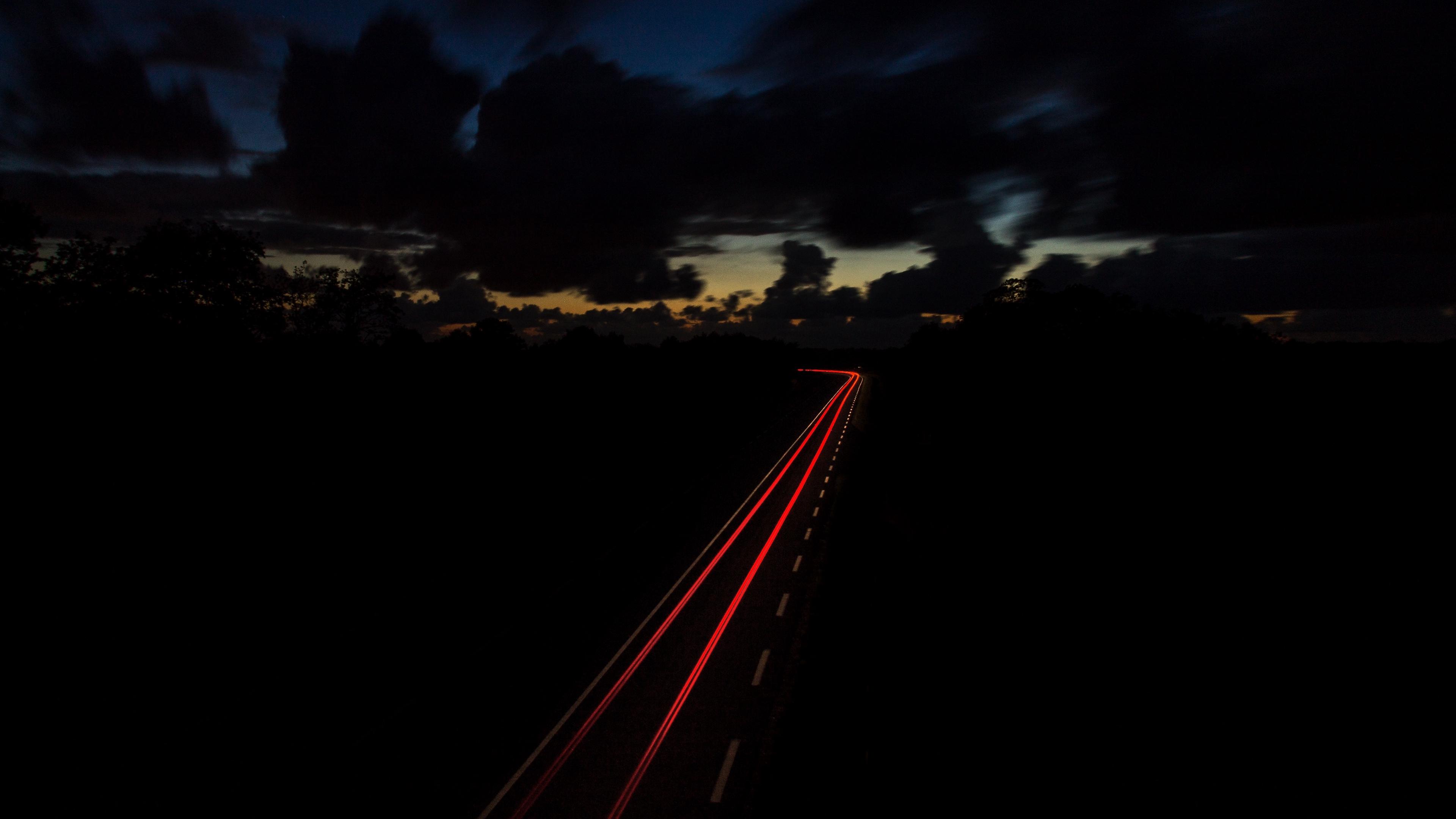 road night turn sky 4k 1540574492 - road, night, turn, sky 4k - turn, Road, Night