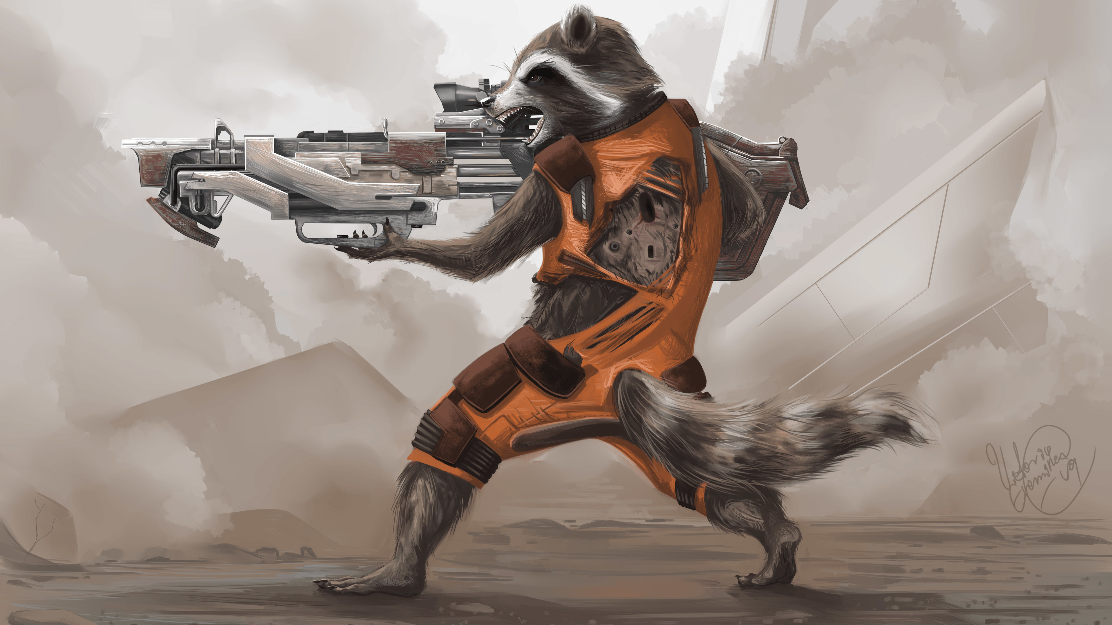 rocket raccoon artwork 4k 1540749141 - Rocket Raccoon Artwork 4k - rocket raccoon wallpapers, movies wallpapers, hd-wallpapers, guardians of the galaxy wallpapers, guardians of the galaxy vol 2 wallpapers, artwork wallpapers, 4k-wallpapers, 2017 movies wallpapers