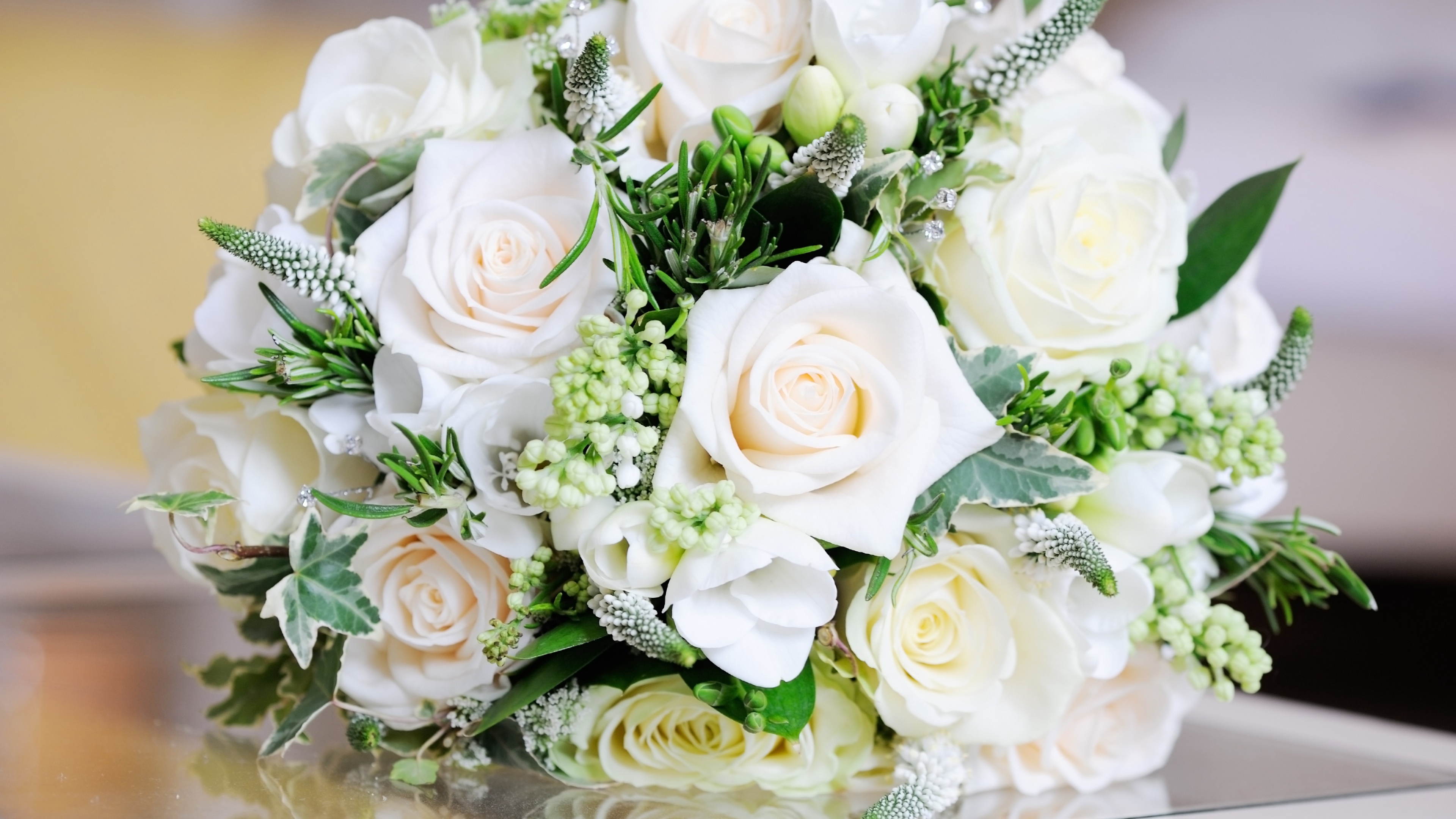 roses bouquet leaves flowers white table decoration 4k 1540065141 - roses, bouquet, leaves, flowers, white, table, decoration 4k - Roses, Leaves, Bouquet