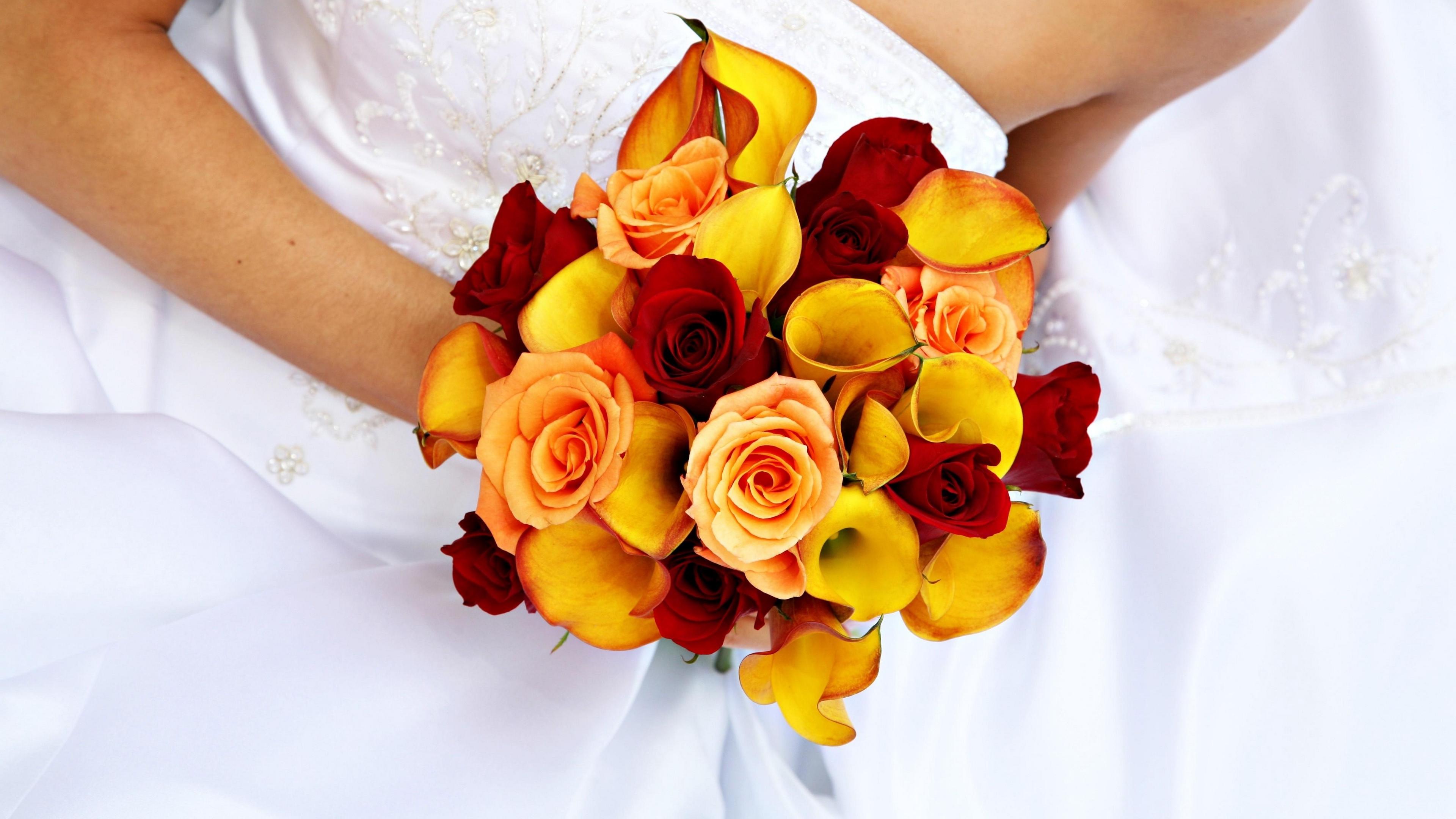 roses calla lilies bridal bouquet groom dress 4k 1540064189 - roses, calla lilies, bridal bouquet, groom, dress 4k - Roses, calla lilies, bridal bouquet