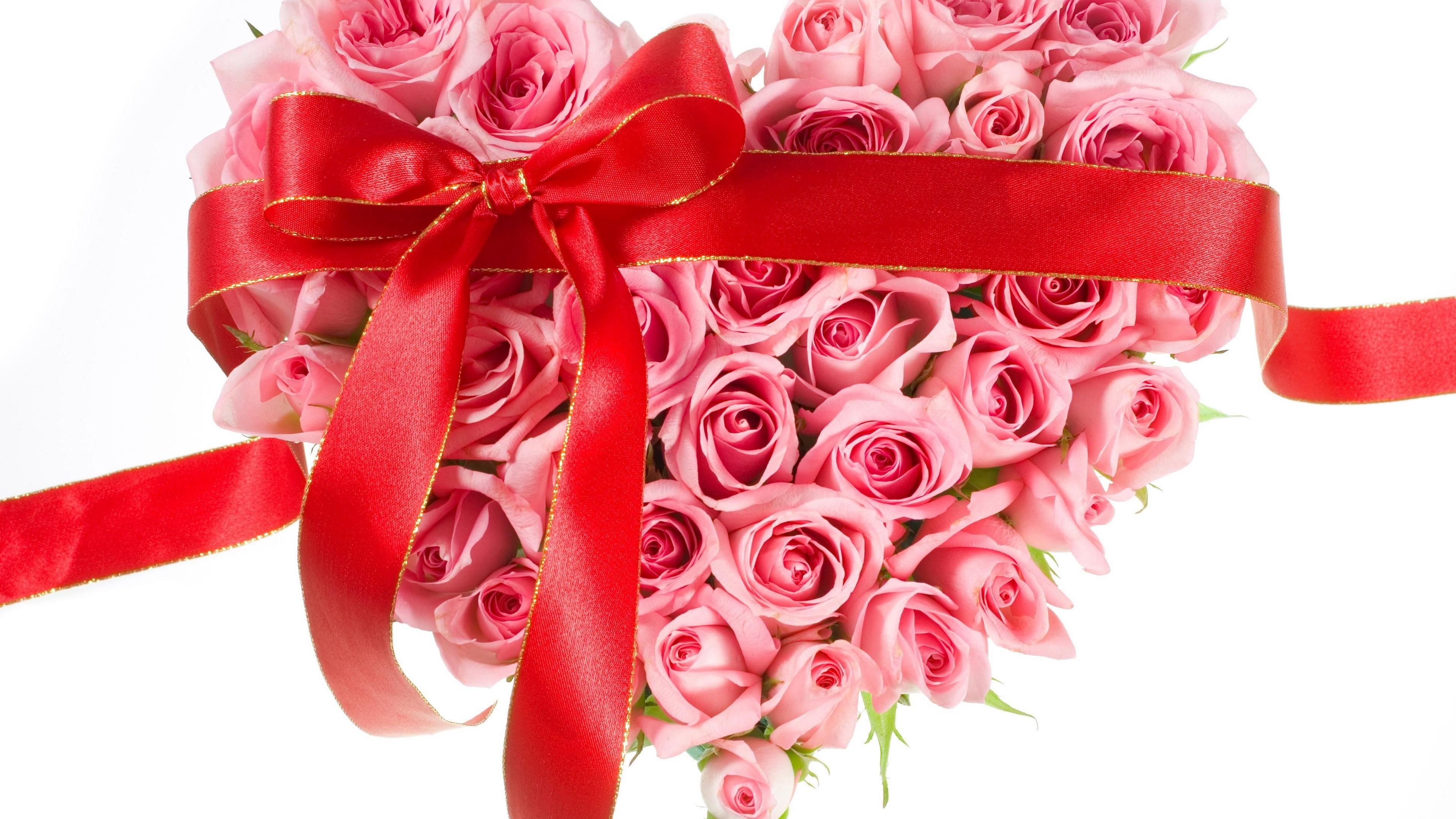 roses flowers hearts ribbons bows 4k 1540064887 - roses, flowers, hearts, ribbons, bows 4k - Roses, Hearts, Flowers