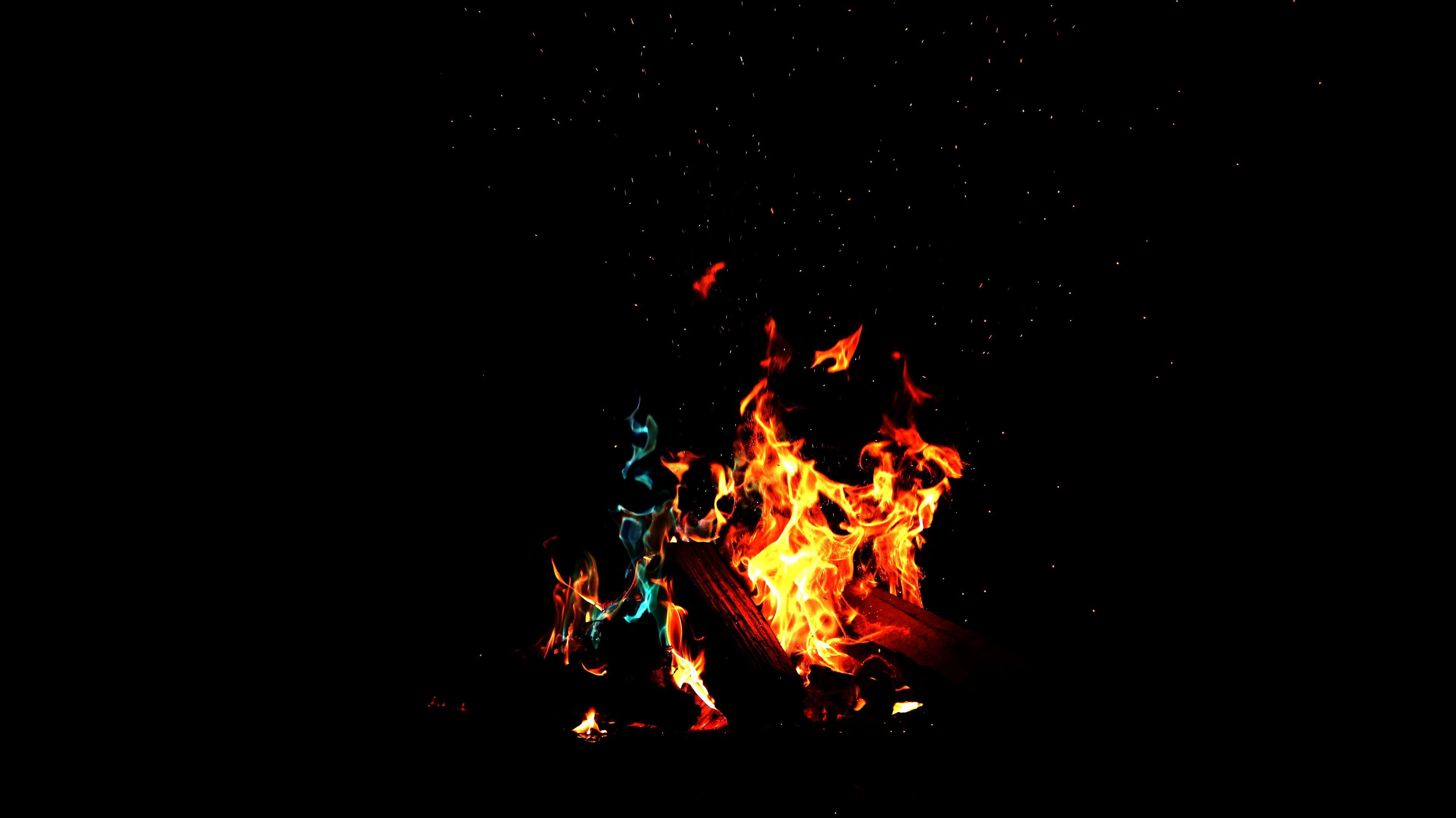 Wallpaper 4k Running Flame In Dark Forest 4k 4k Wallpapers 5k