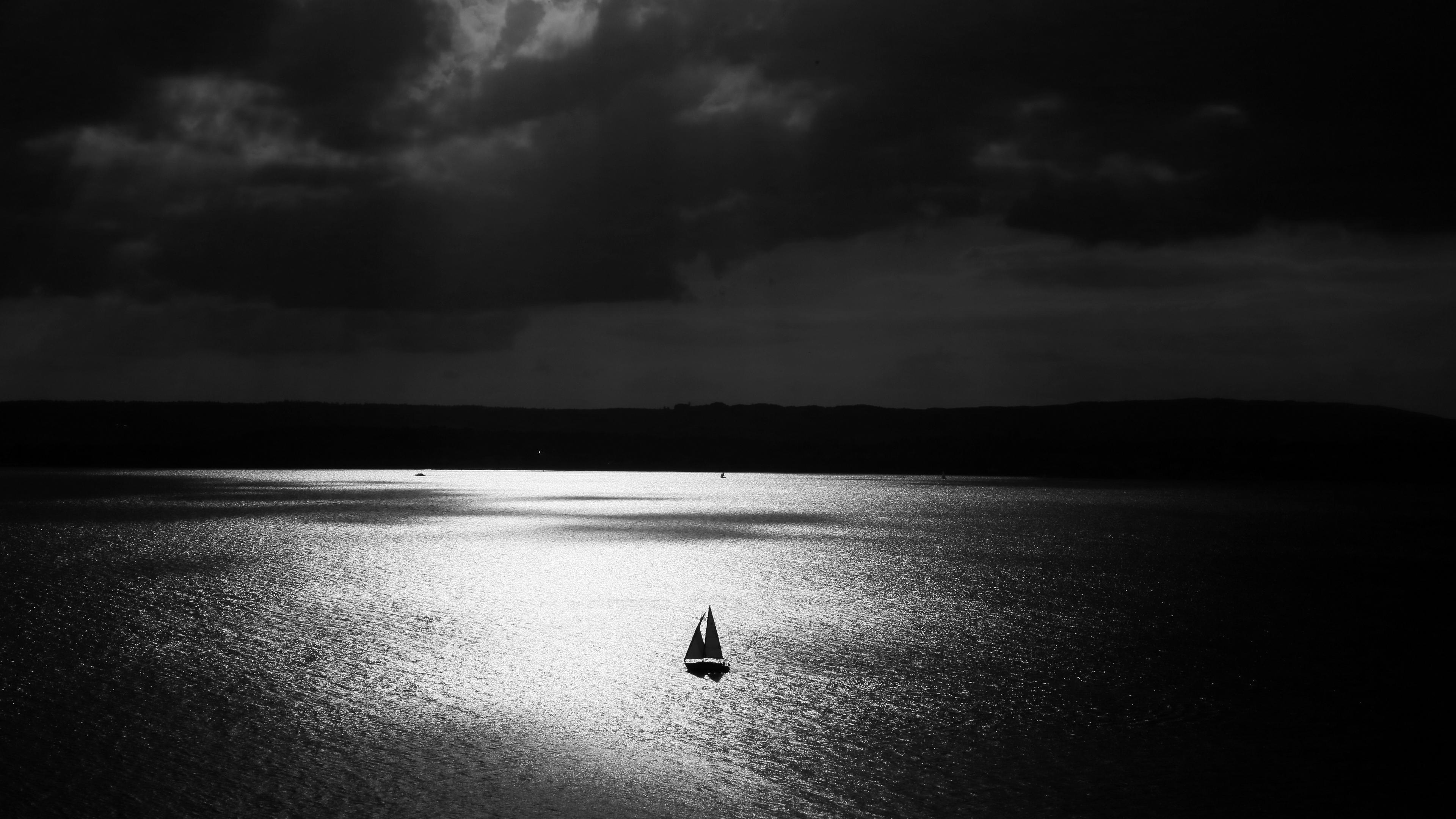 sail lonely night bw 4k 1540575147 - sail, lonely, night, bw 4k - Sail, Night, Lonely