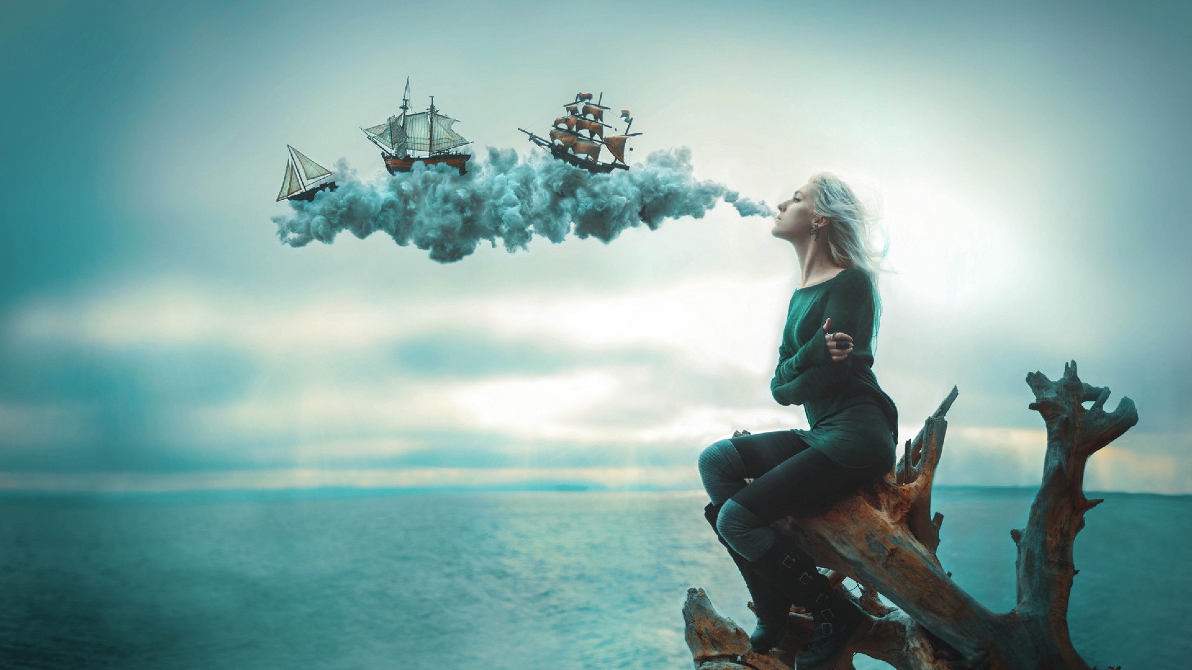 sailing ships sea smoke 4k 1540748323 - Sailing Ships Sea Smoke 4k - smoke wallpapers, ship wallpapers, sea wallpapers, digital art wallpapers, artist wallpapers