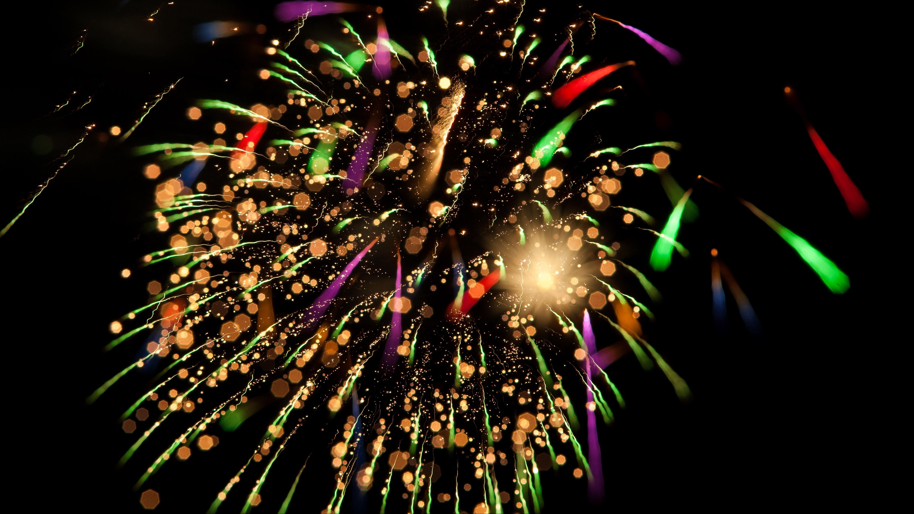 salute fireworks sparks glitter bokeh glare 4k 1539370512 - salute, fireworks, sparks, glitter, bokeh, glare 4k - Sparks, salute, Fireworks