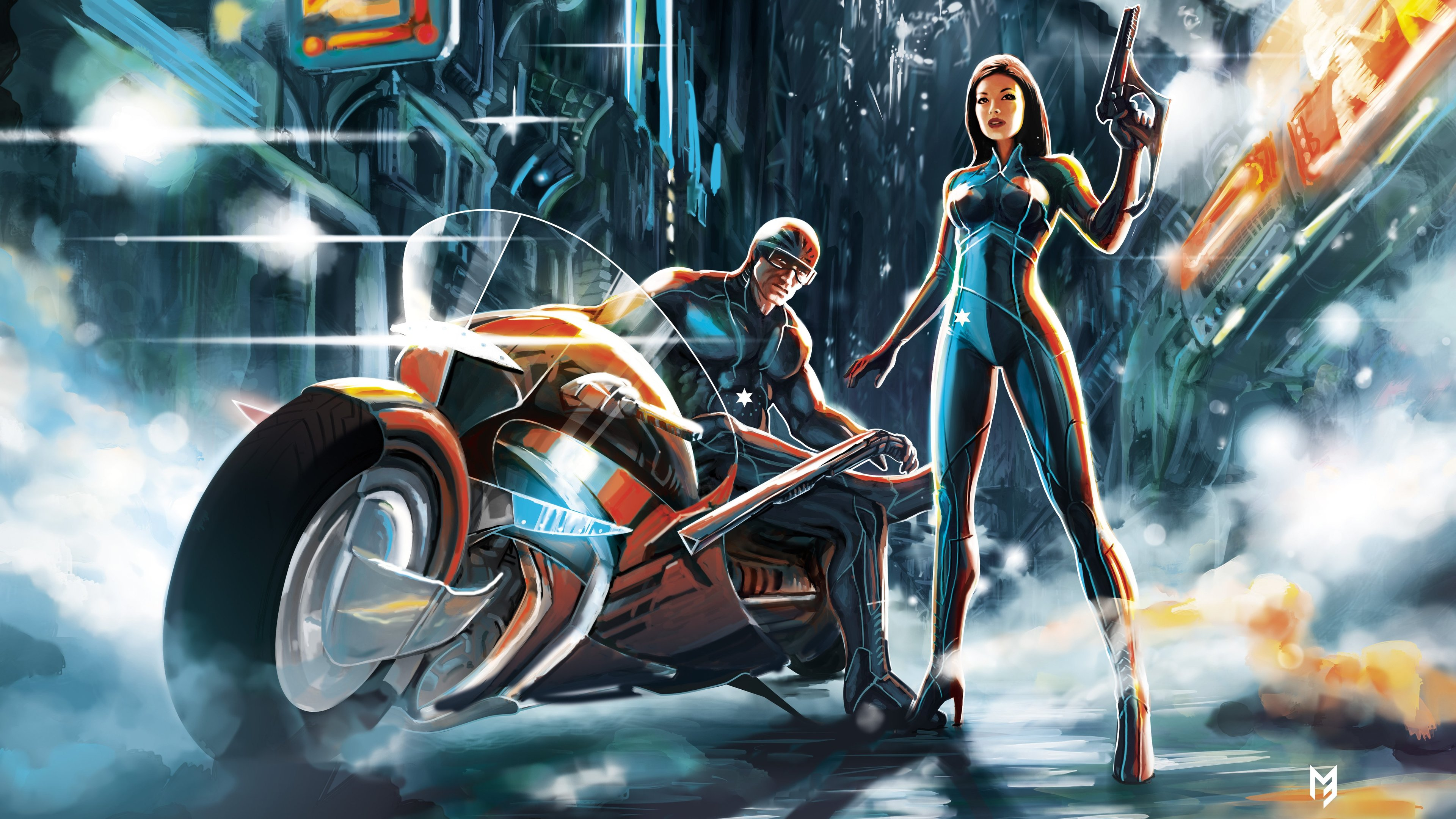 scifi futuristic warrior girl and boy with bike 1540755138 - Scifi Futuristic Warrior Girl And Boy With Bike - scifi wallpapers, hd-wallpapers, digital art wallpapers, artwork wallpapers, 4k-wallpapers