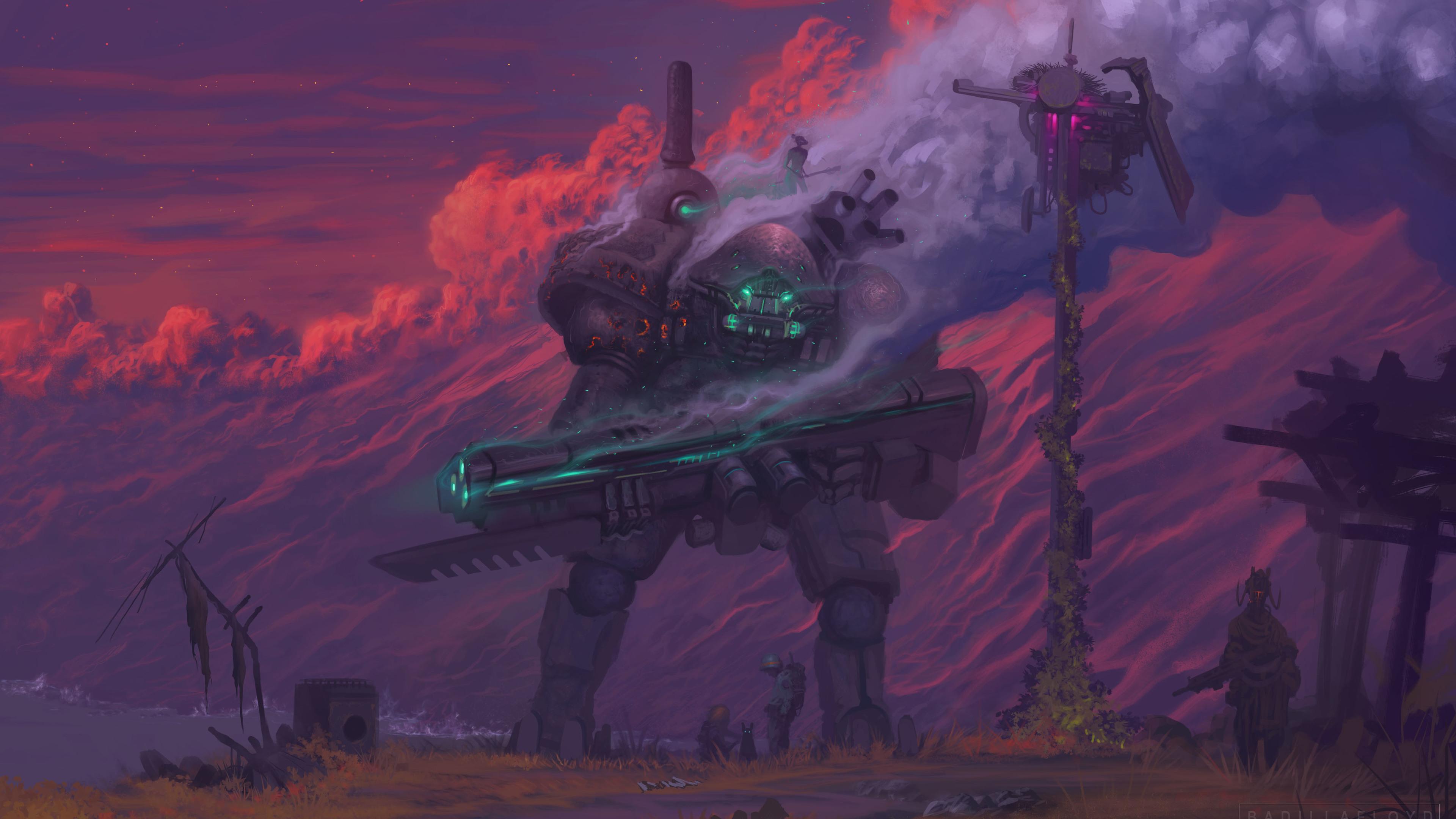 scifi robot digital art painting 4k 1540756208