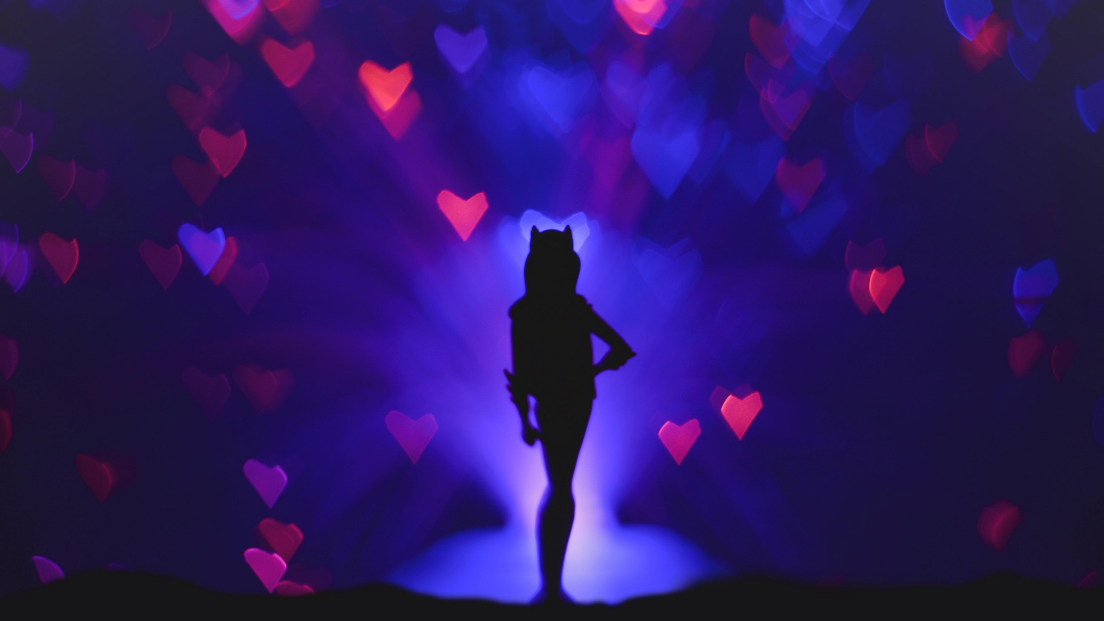 silhouette glare bokeh heart 4k 1540576176 - silhouette, glare, bokeh, heart 4k - Silhouette, glare, Bokeh