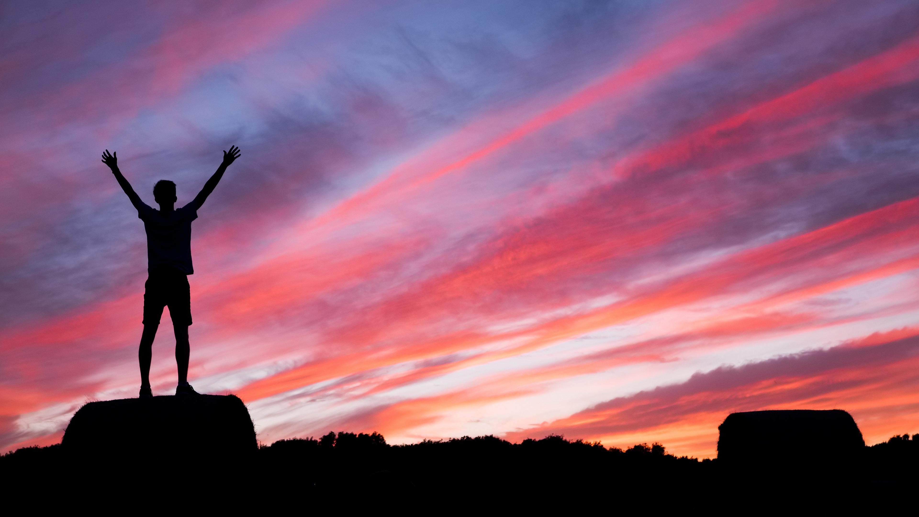 silhouette man hill sunset 4k 1540574482 - silhouette, man, hill, sunset 4k - Silhouette, Man, hill
