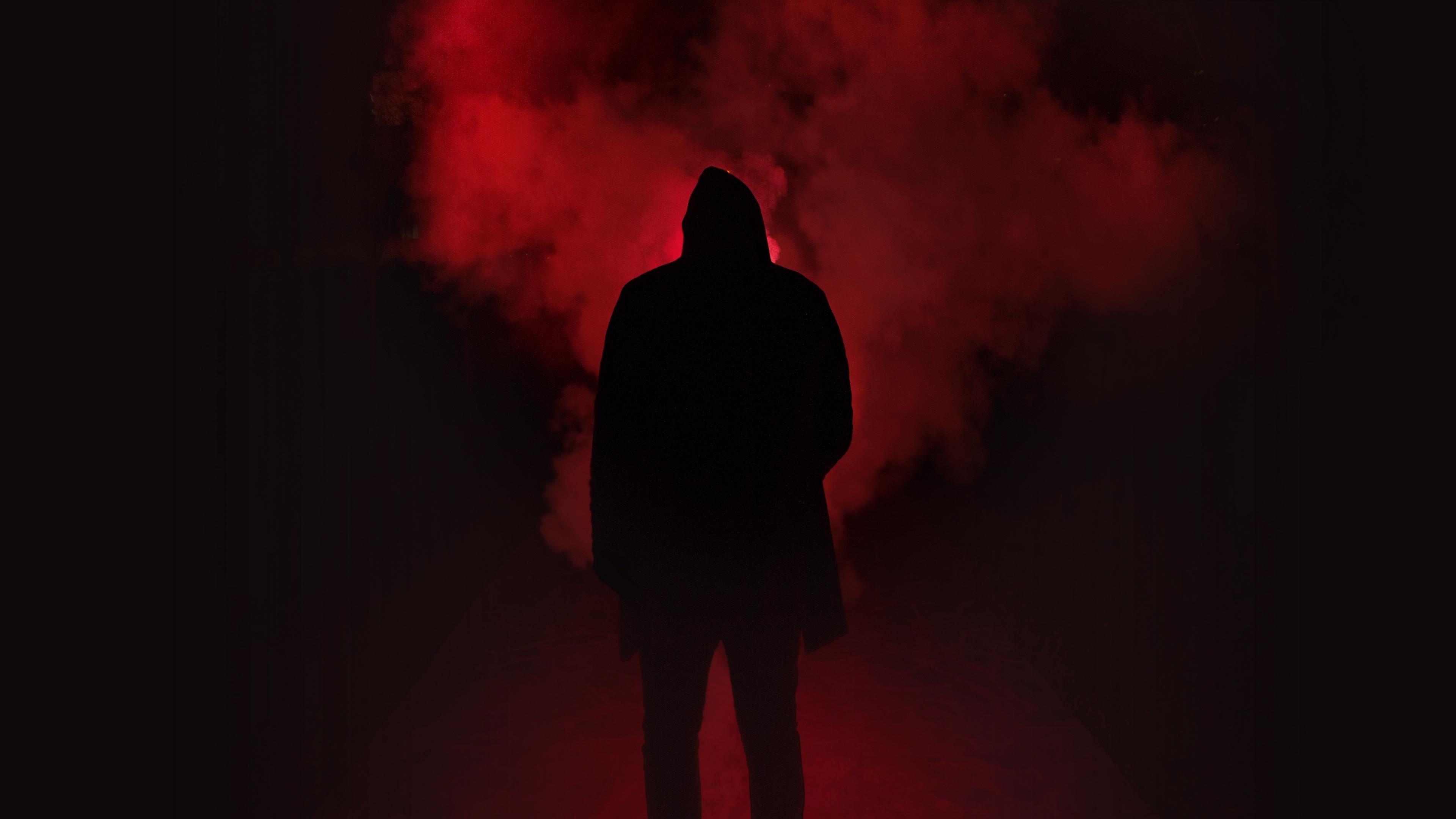 silhouette smoke man hood 4k 1540575218 - silhouette, smoke, man, hood 4k - Smoke, Silhouette, Man
