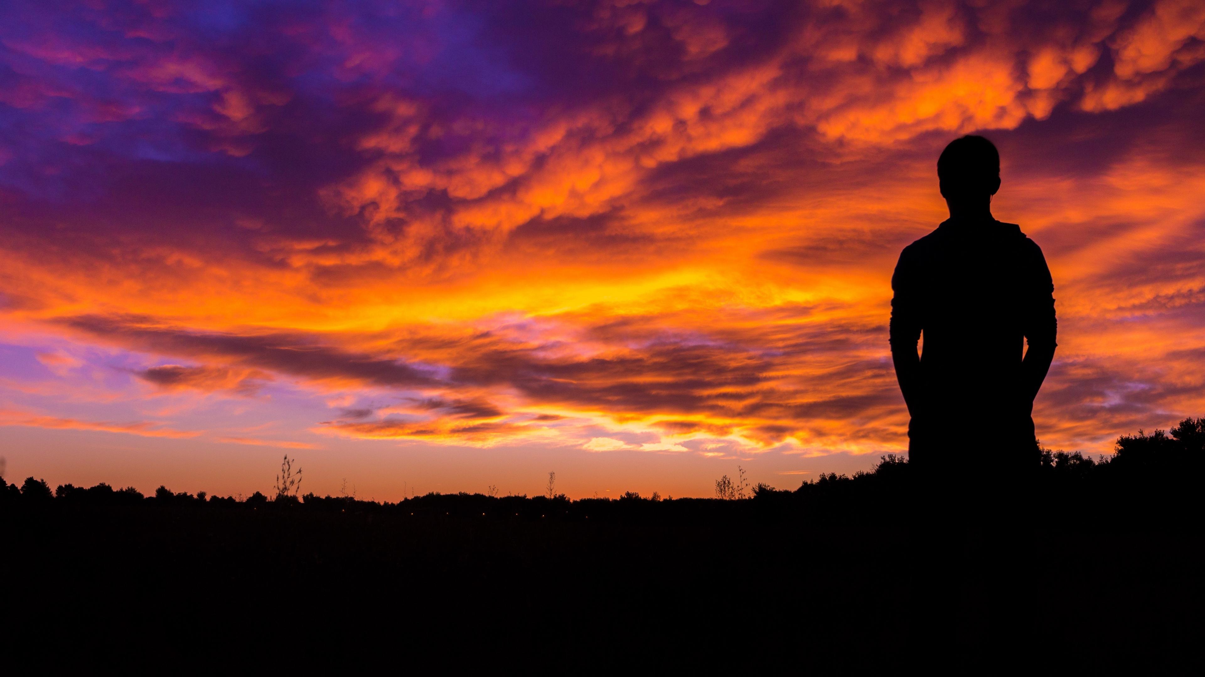 silhouette sunset sky night 4k 1540574981 - silhouette, sunset, sky, night 4k - sunset, Sky, Silhouette